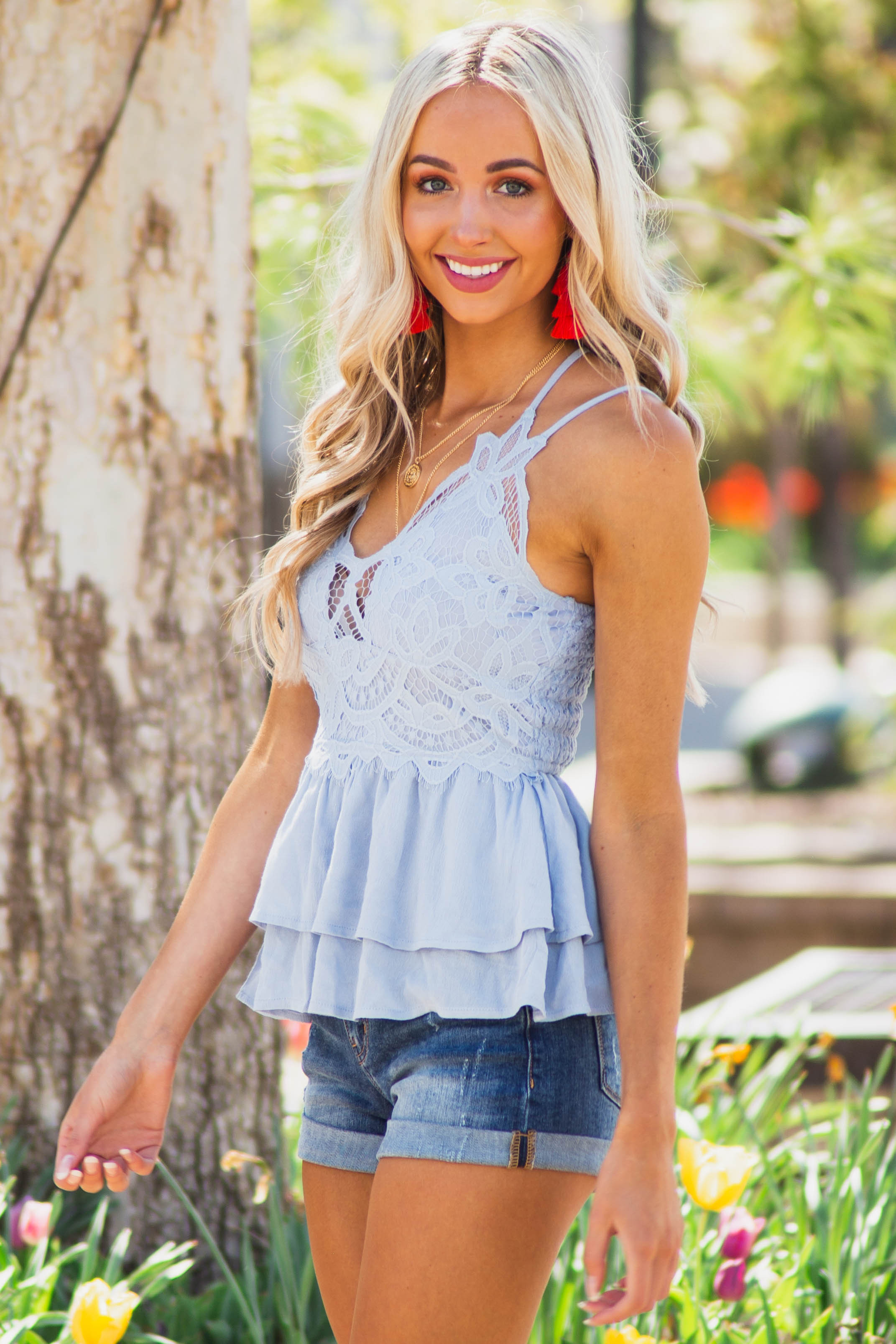 Powder Blue Sleeveless Layered Babydoll Top with Lace Detail