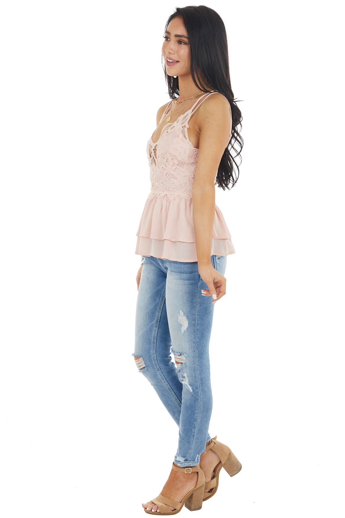 Dusty Blush Sleeveless Layered Babydoll Top with Lace Detail