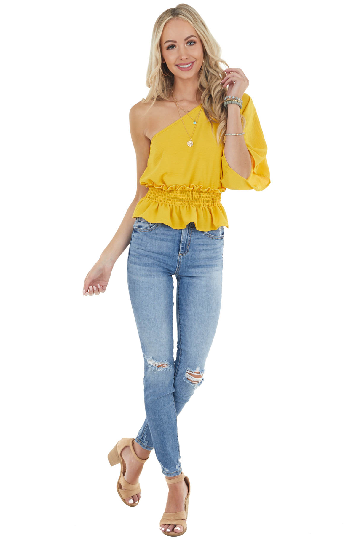 Amber One Shoulder Short Sleeve Top with Smocked Waist
