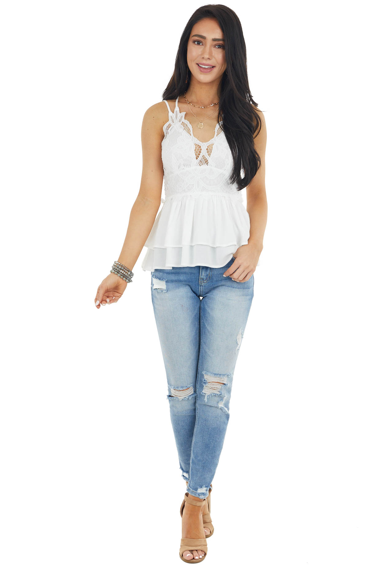 Pearl Sleeveless Layered Babydoll Top with Lace Details