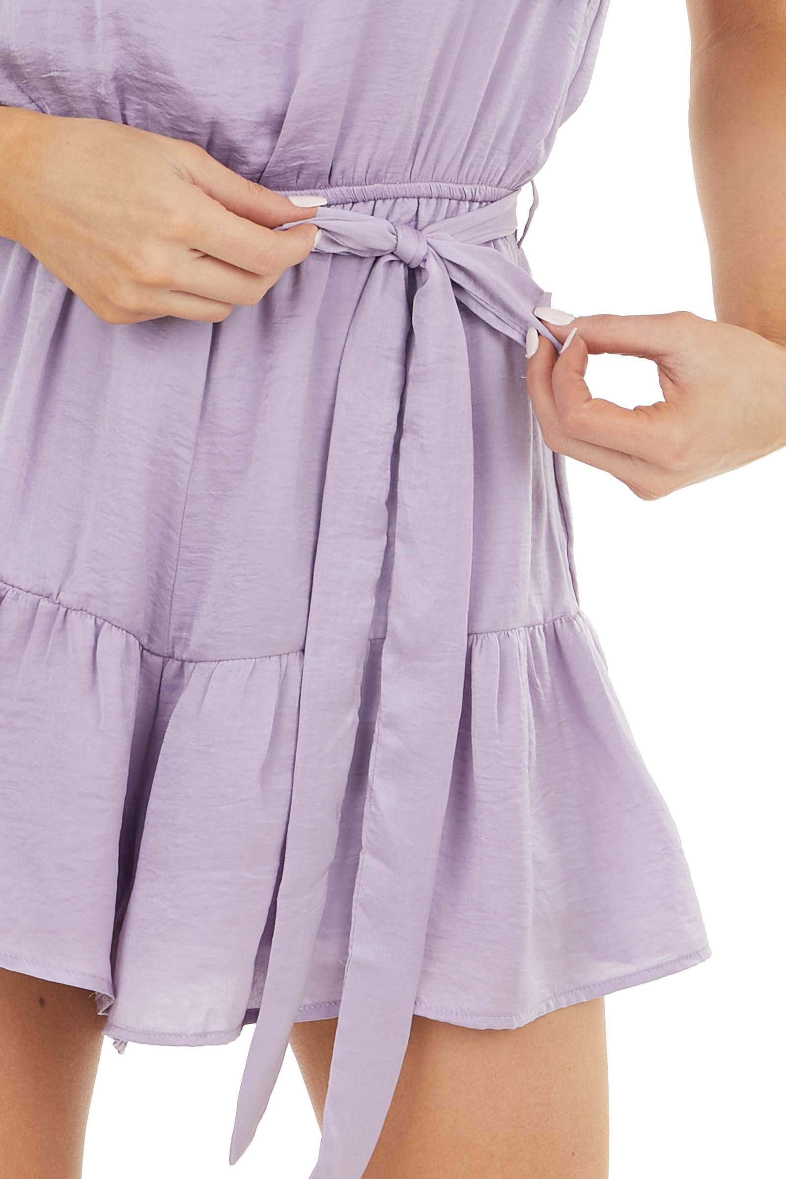 Lavender Silky Strapless Woven Romper with Front Tie Detail