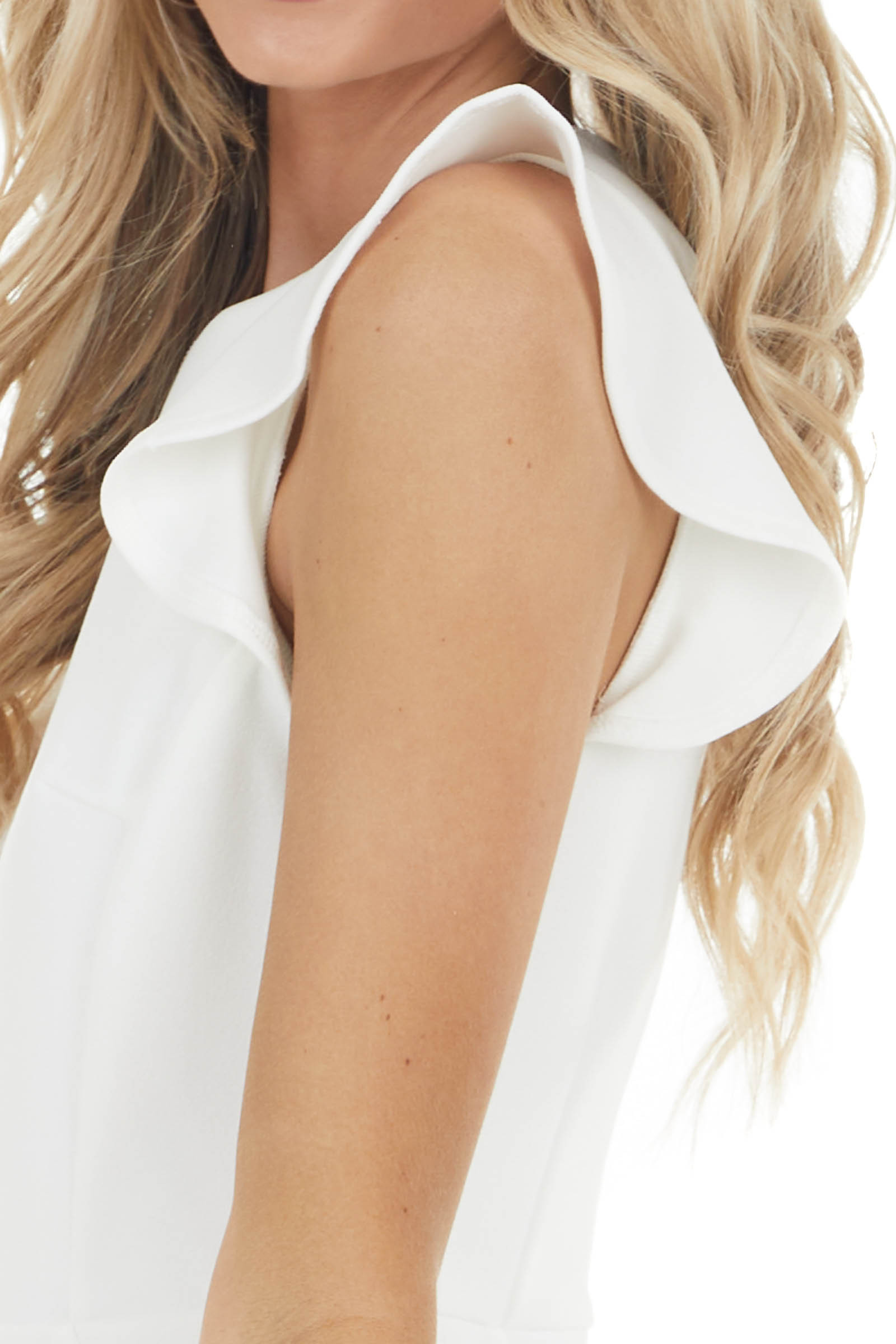 Off White Ruffled Cap Sleeve Dress with Ruffled Hemline