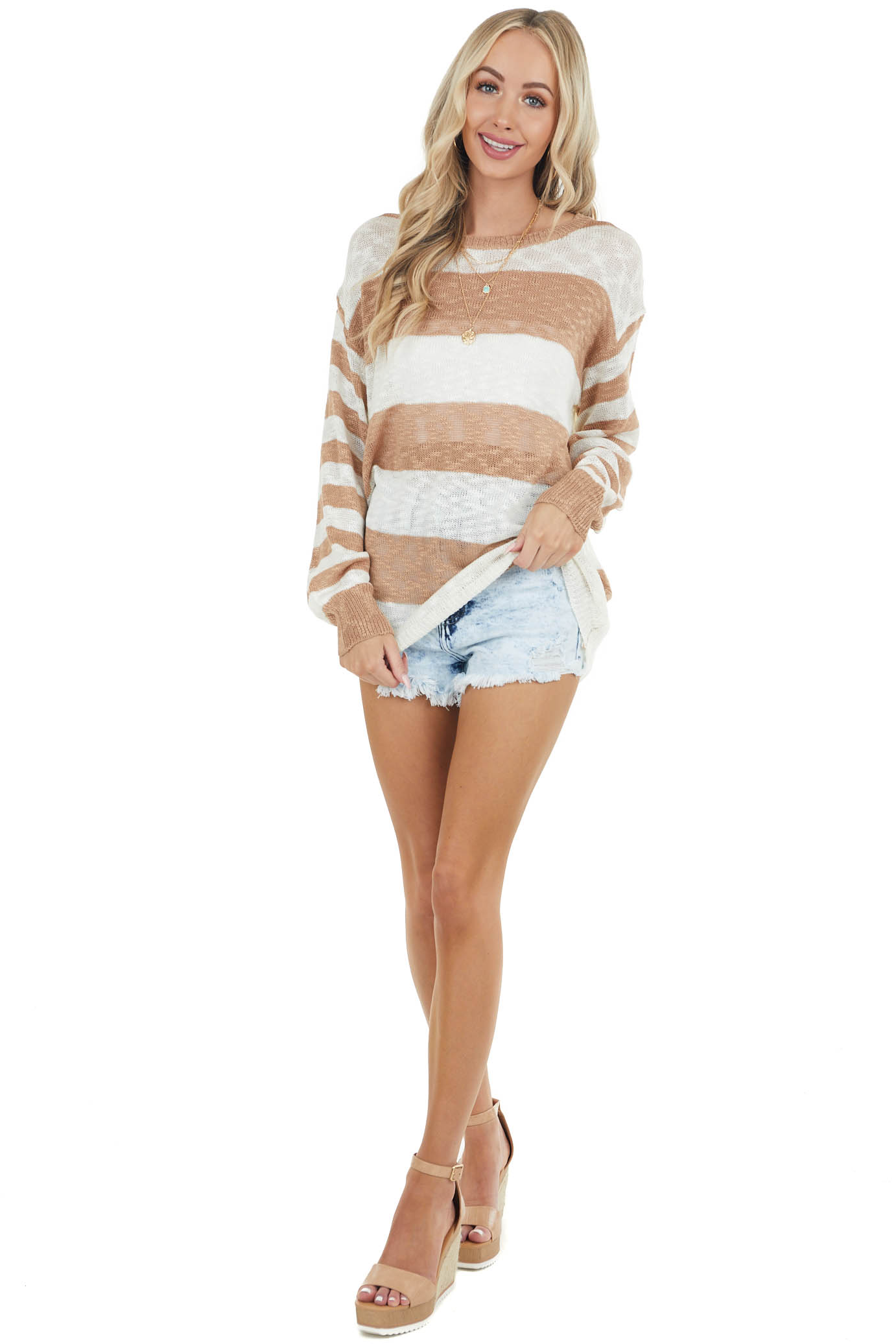 Ivory and Camel Striped Loose Knit Lightweight Sweater