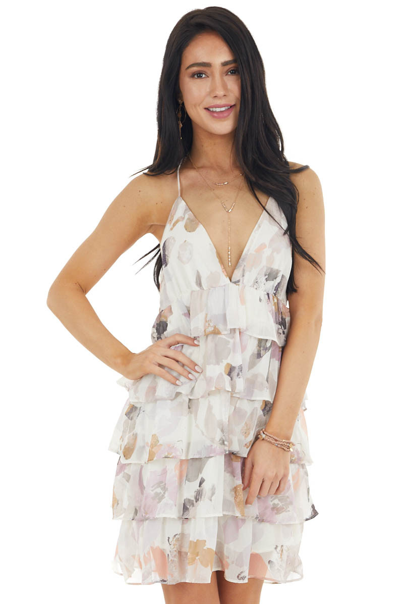 Cream Floral Print Tiered Dress with Spaghetti Straps