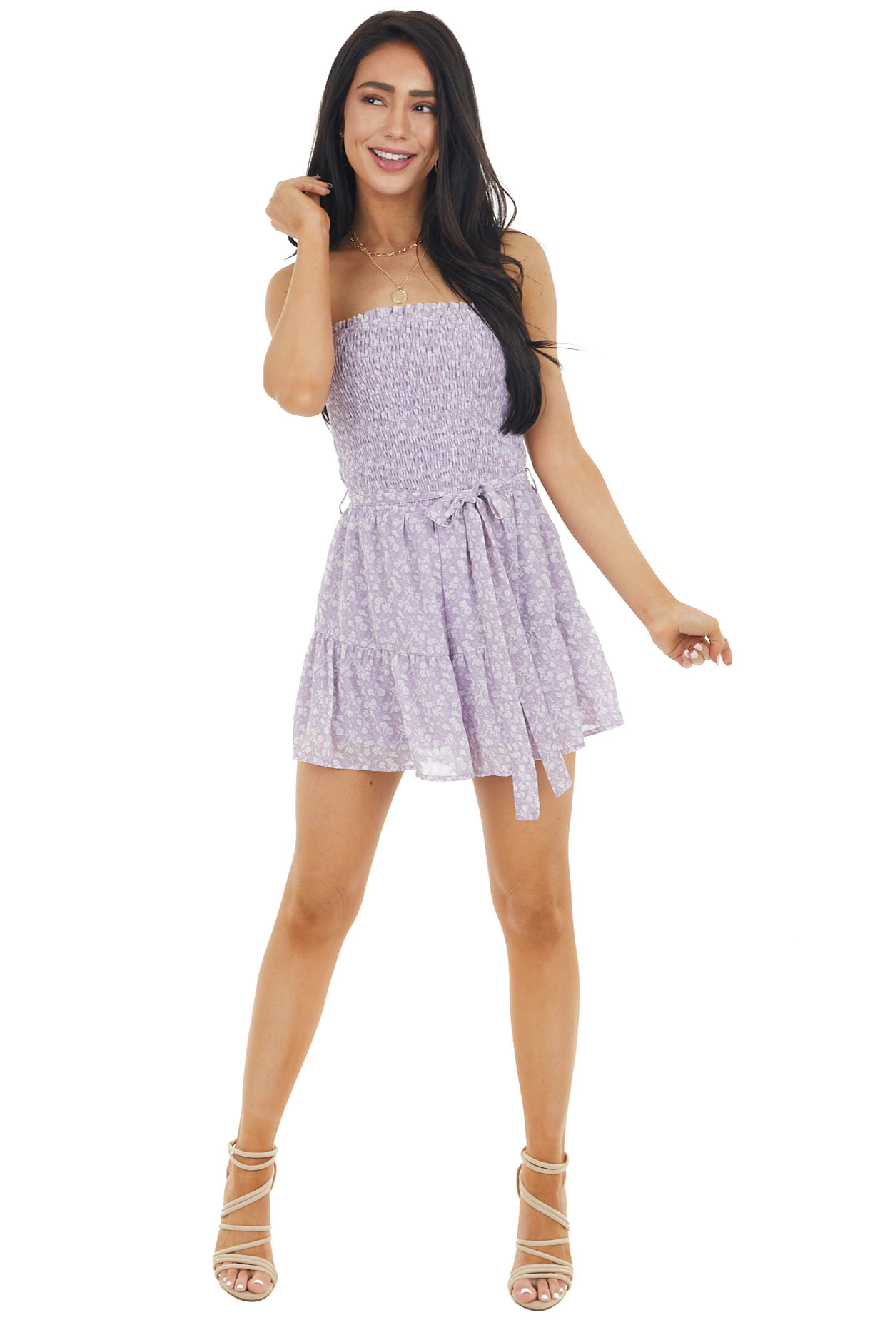 Lavender Ditsy Floral Strapless Romper with Smocked Detail