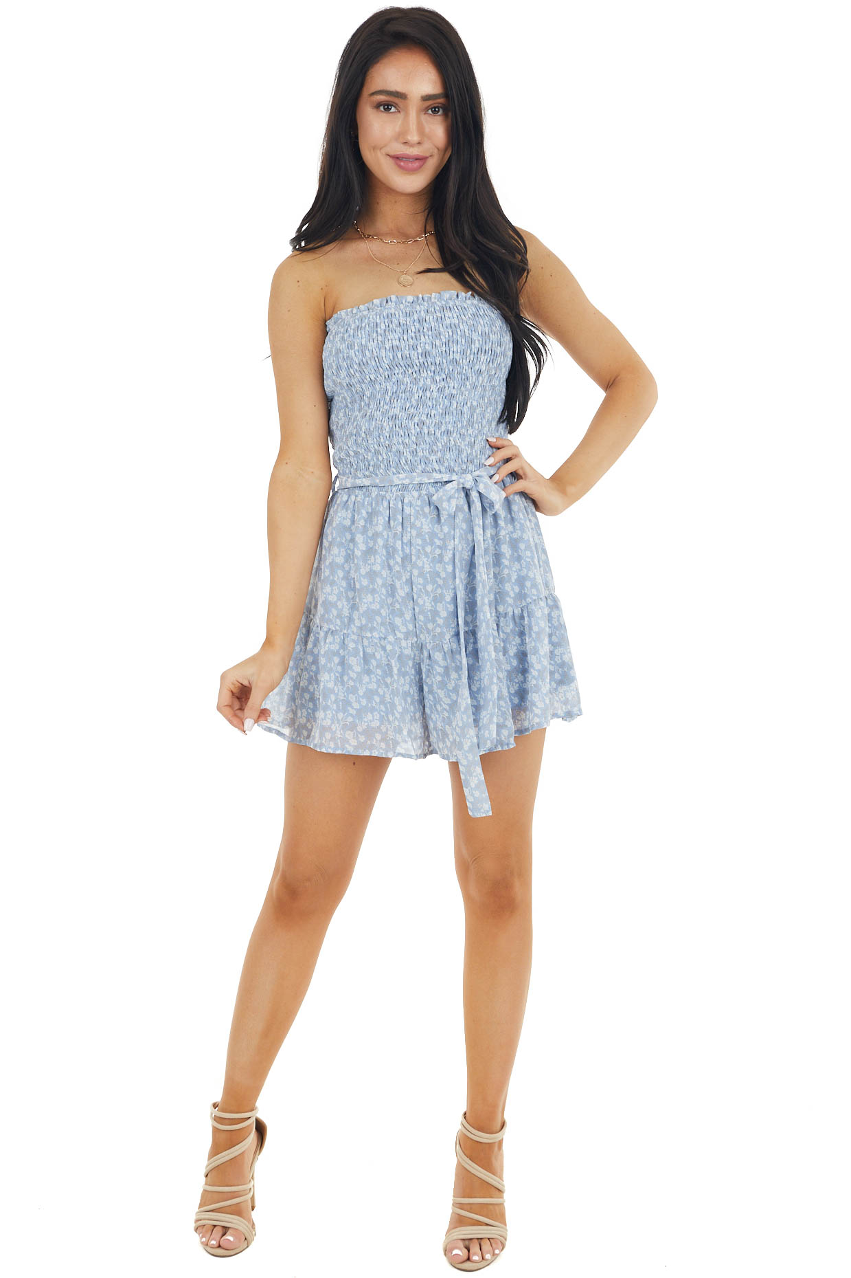 Dusty Blue Ditsy Floral Strapless Romper with Smocked Detail