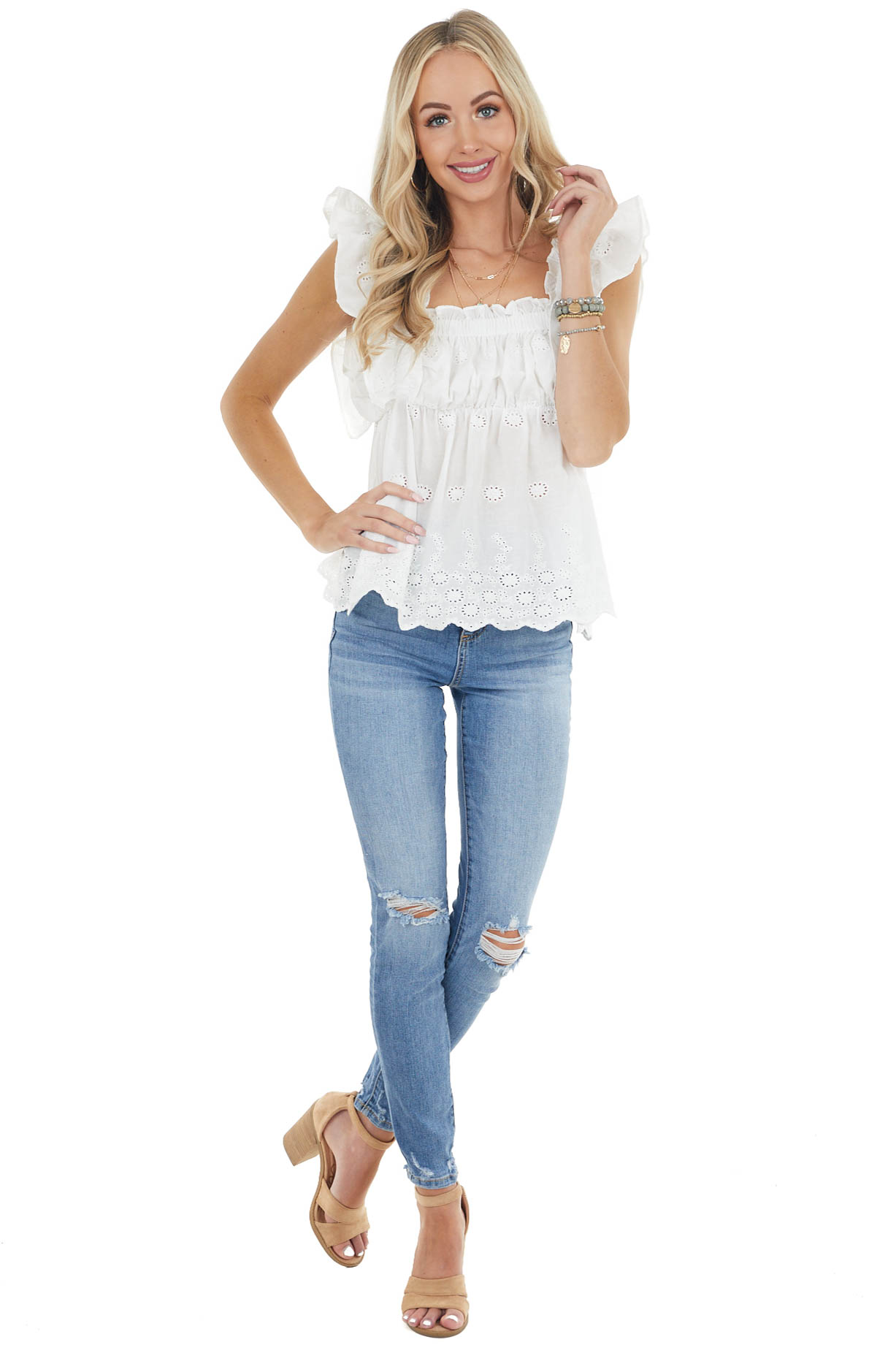 Pearl Short Ruffled Sleeve Woven Top with Eyelet Detail