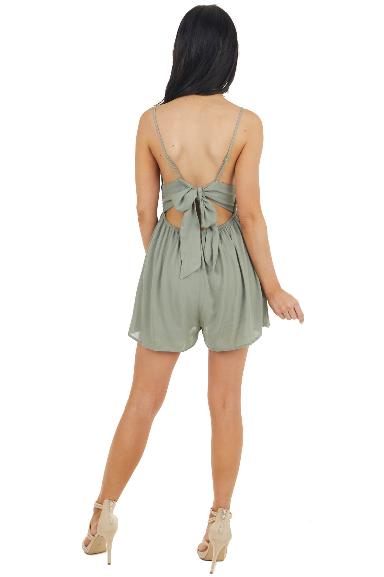 Dusty Sage Sleeveless Romper with Crochet Lace Details