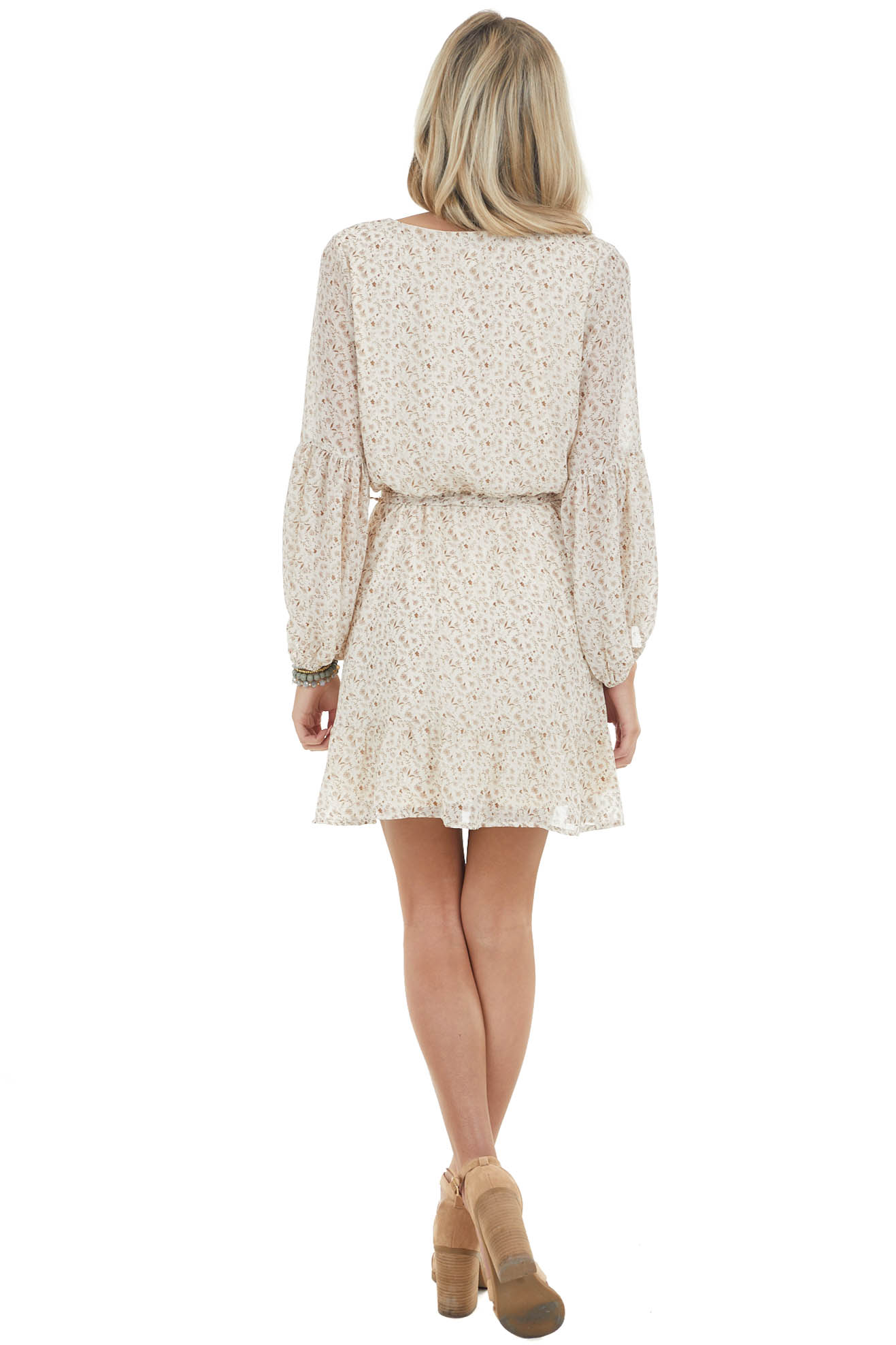 Cream Ditsy Floral Print Short Surplice Dress with Front Tie