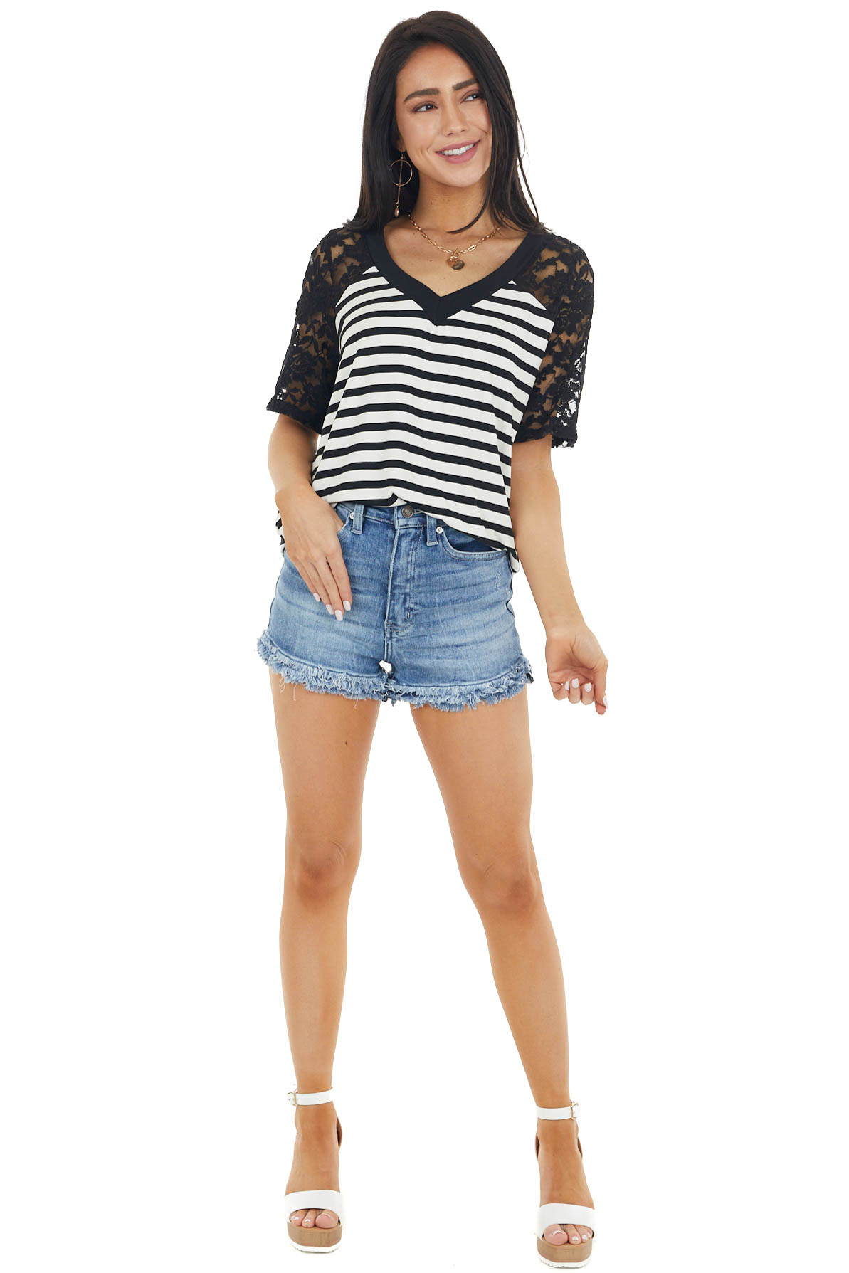 Black and Ivory Striped Stretchy Knit Top with Lace Detail