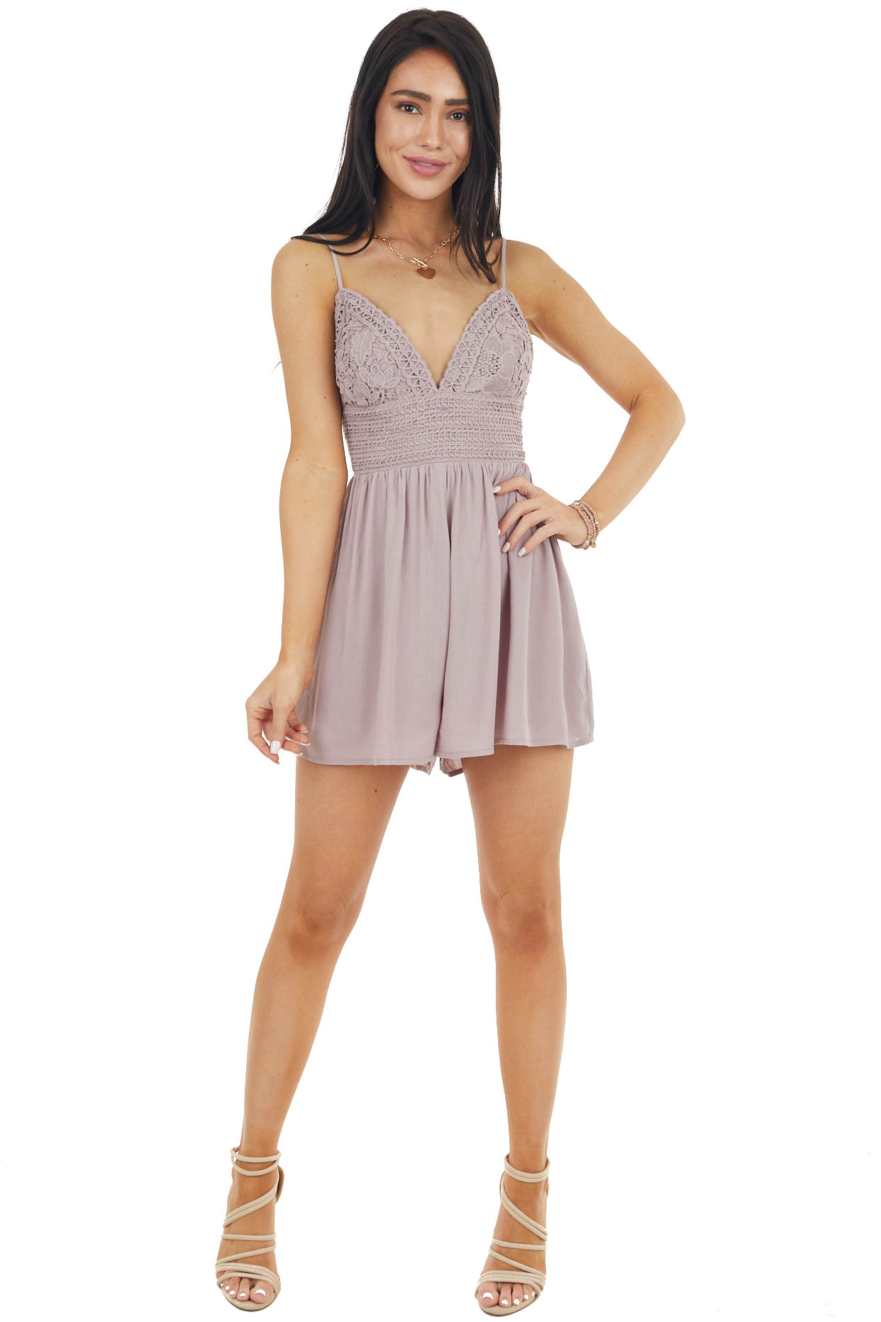 Dusty Lavender Sleeveless Romper with Crochet Lace Details