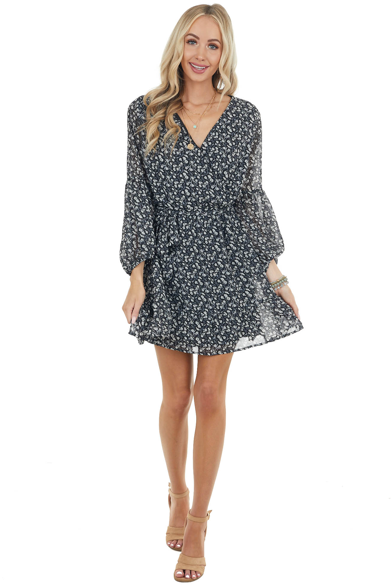 Black Ditsy Floral Print Short Surplice Dress with Front Tie