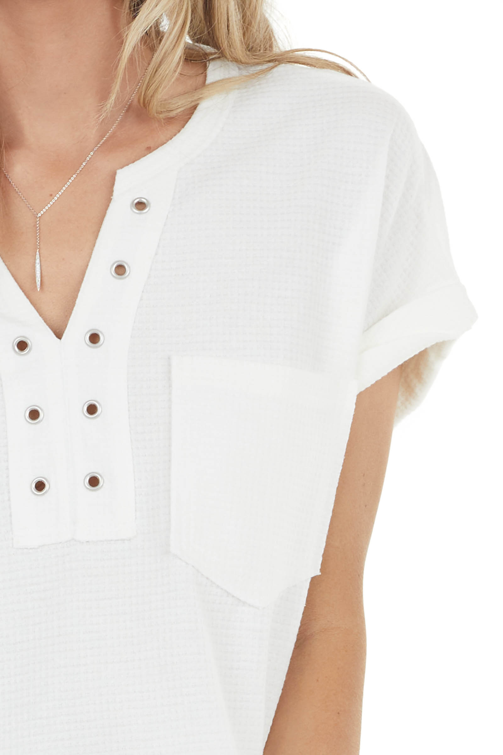 Off White Waffle Knit Short Sleeve Top with Notch V Neck