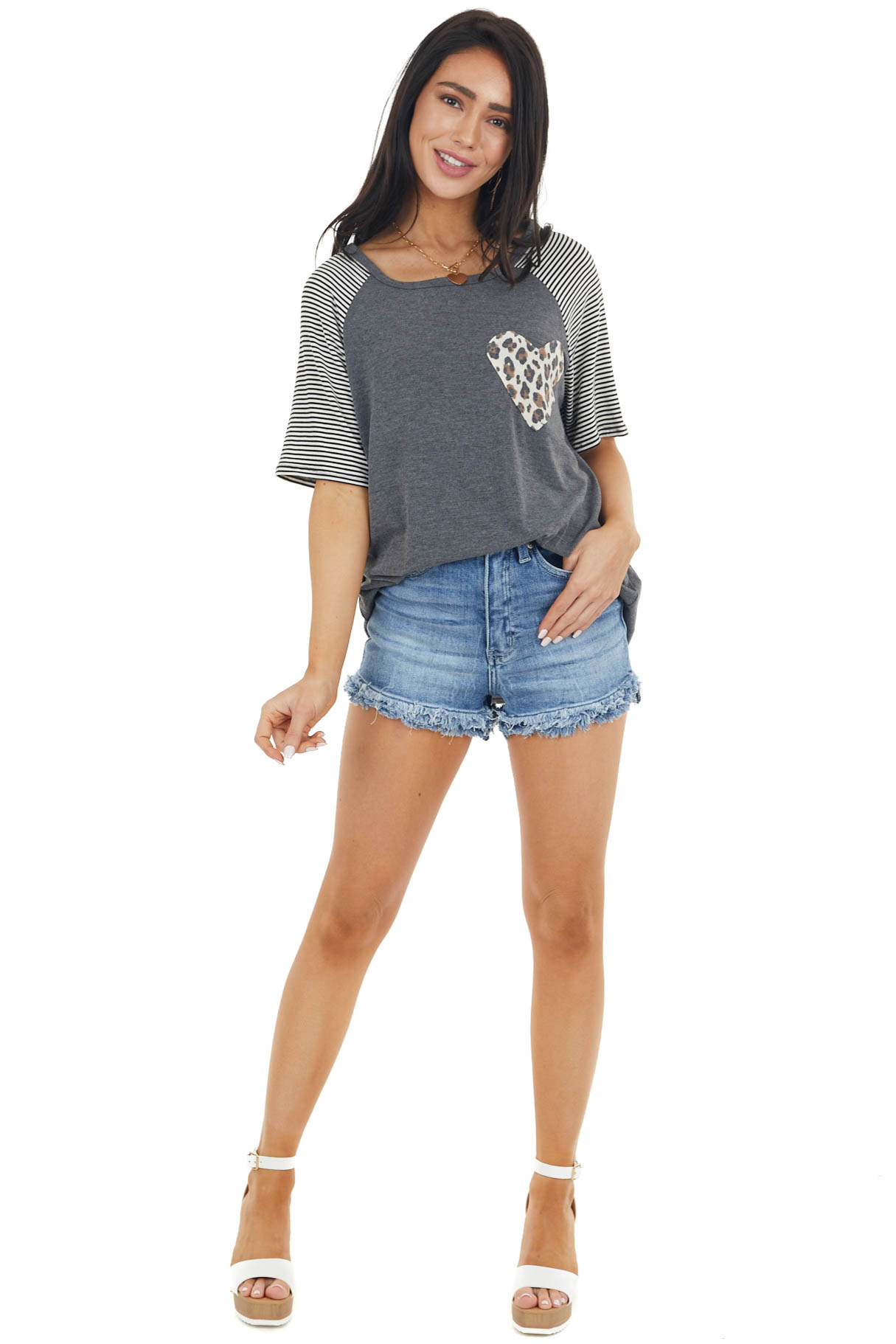 Charcoal Striped Sleeve Knit Tee with Leopard Print Heart