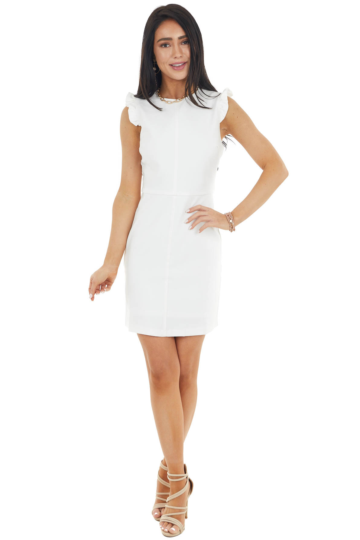 Off White Cap Sleeve Short Dress with Back Zipper Detail