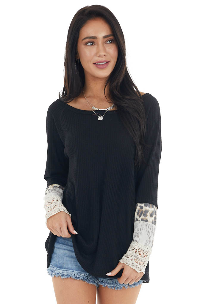 Onyx Long Sleeve Waffle Knit Top with Multiprint Cuff