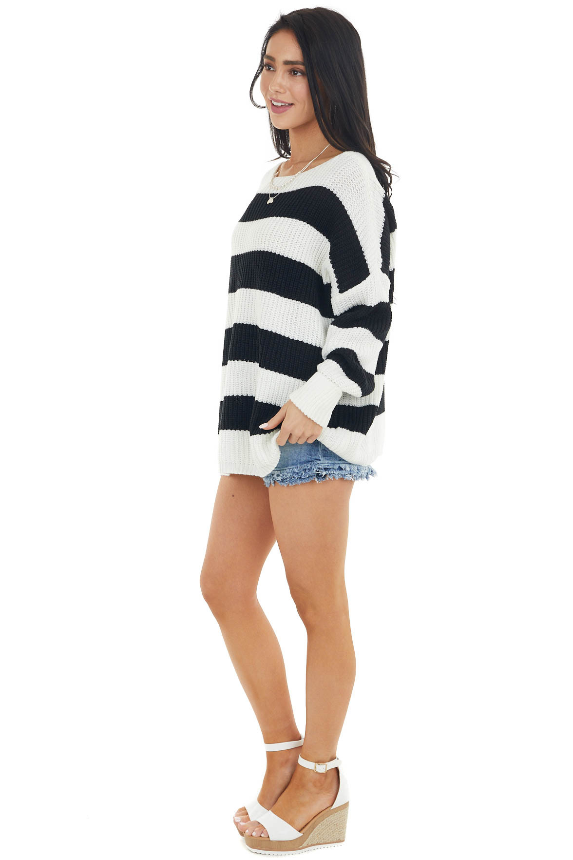 Black Striped Long Sleeve Ribbed Sweater with Cuff Detail