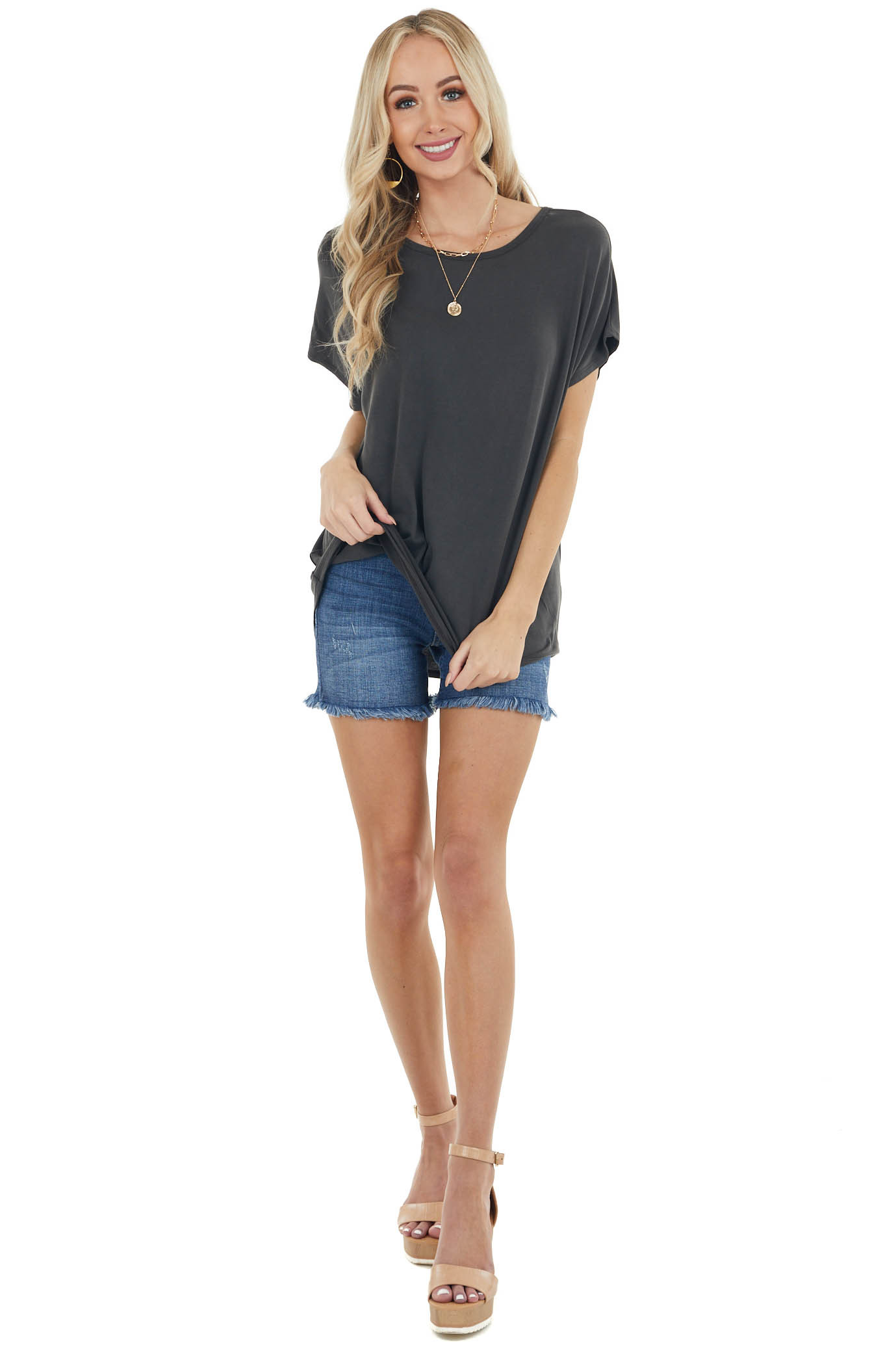 Vintage Black Short Sleeve Oversized Top with Cut Out Detail