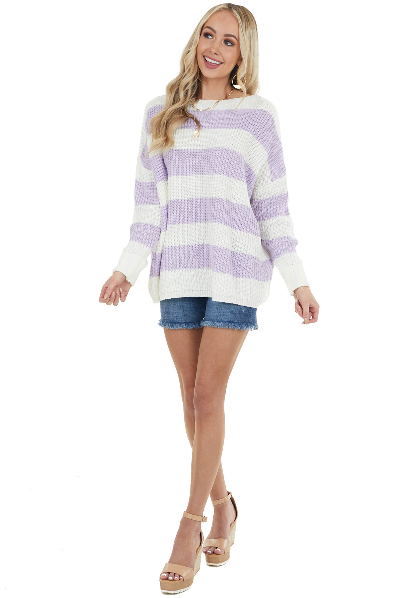 Iris Striped Long Sleeve Ribbed Sweater with Cuff Detail