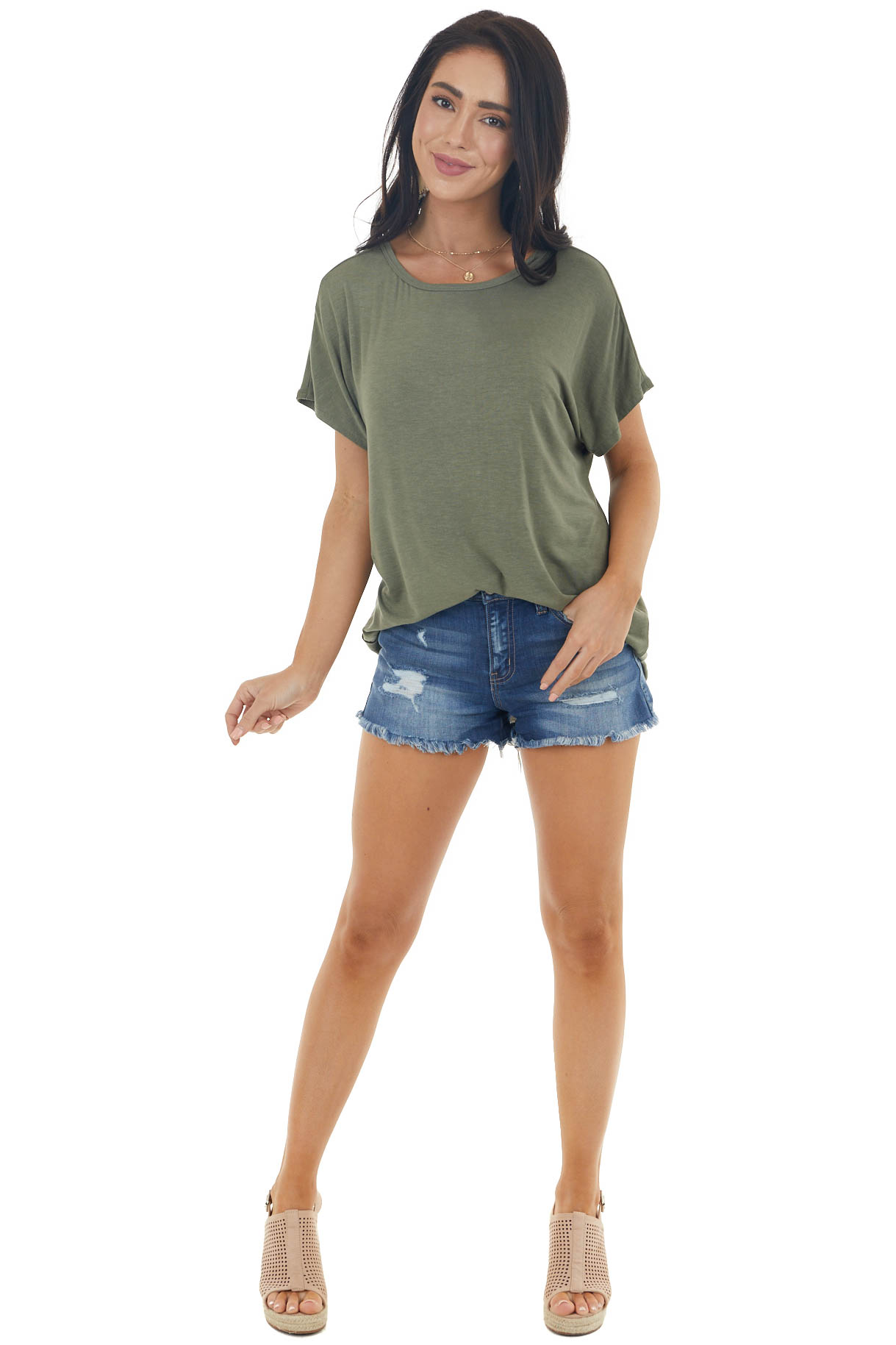 Vintage Olive Short Sleeve Oversized Top with Cut Out Detail