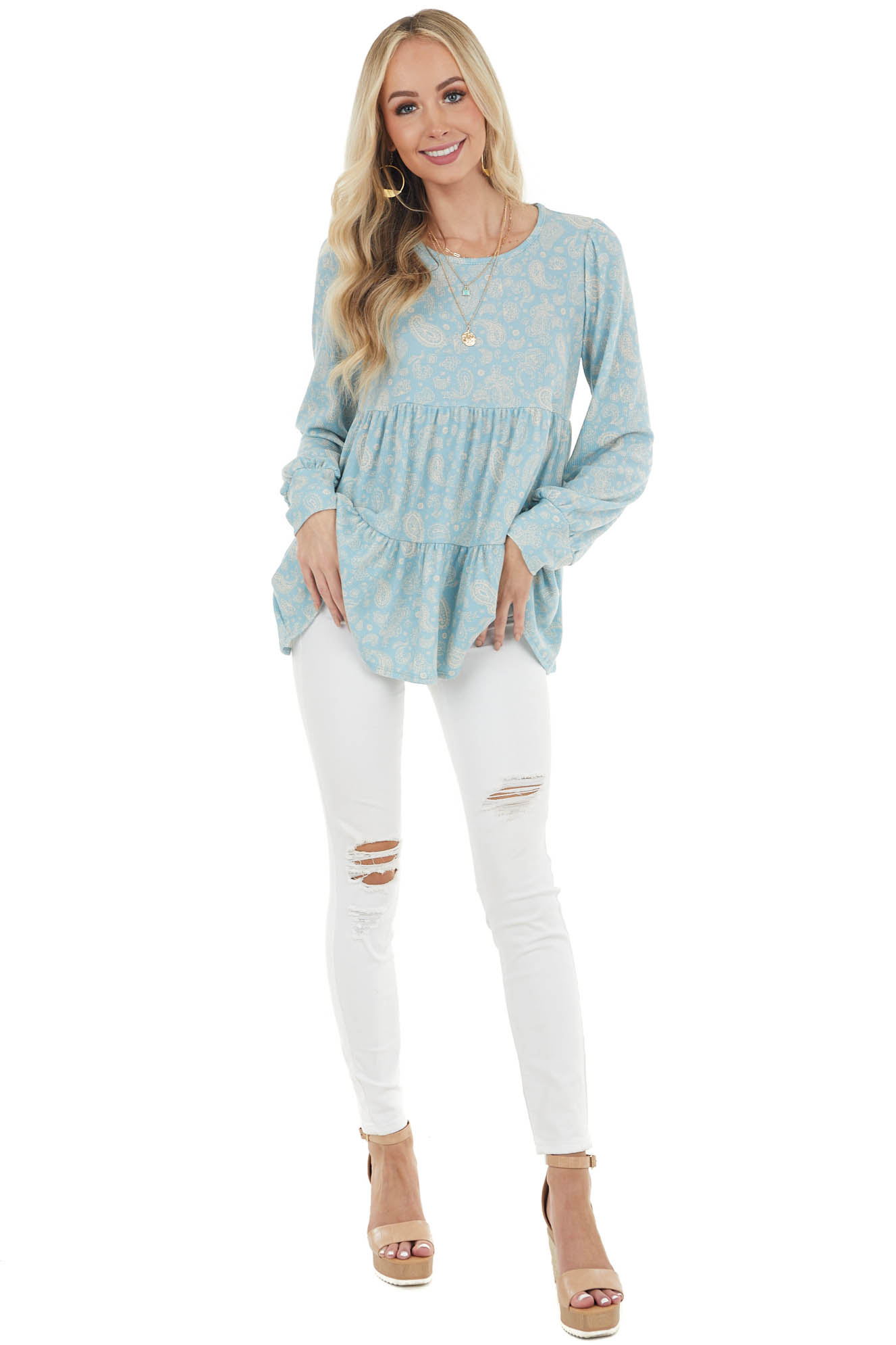 Dusty Teal Paisley Print Tiered Waffle Knit Babydoll Top