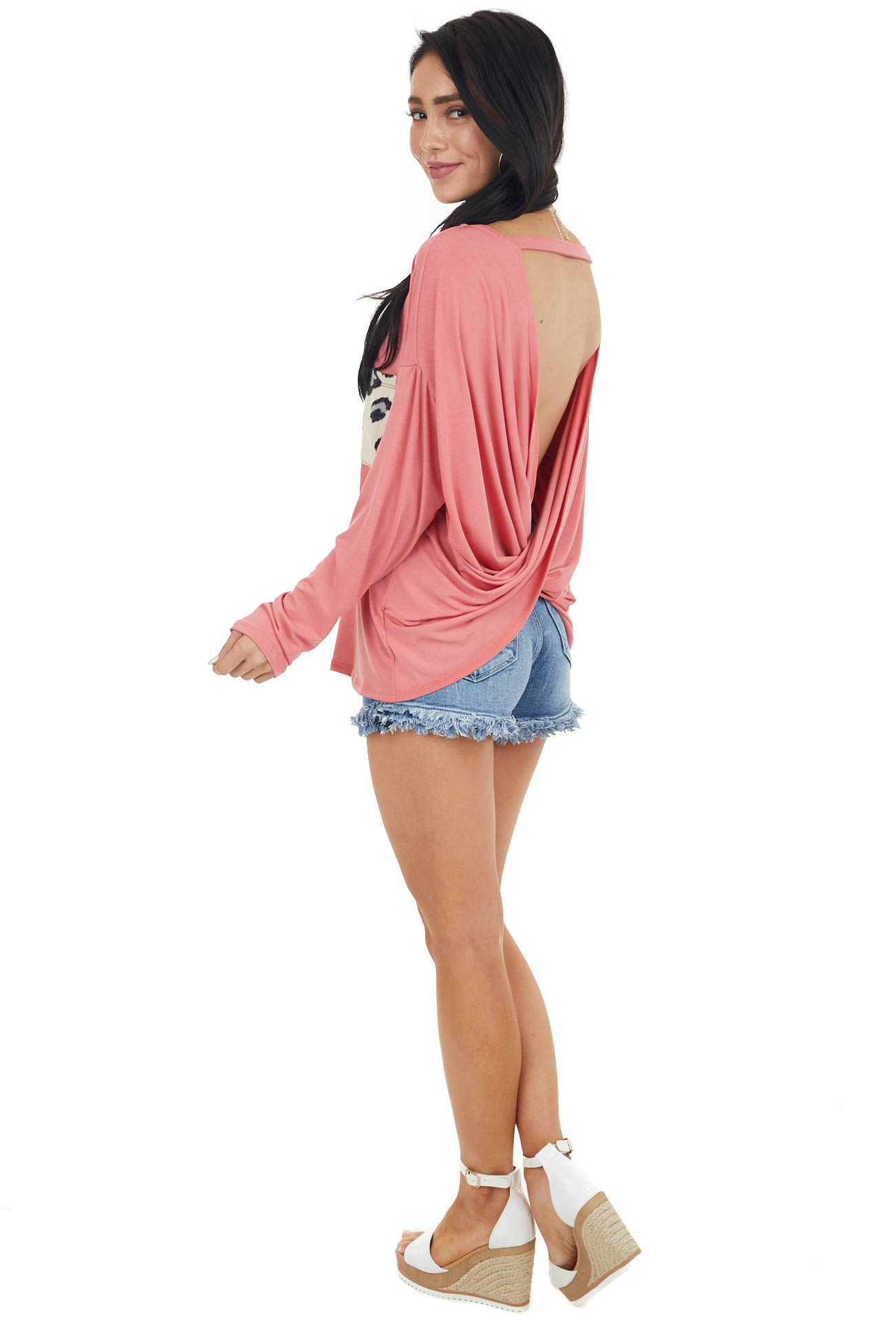 Coral Open Back Knit Top with Leopard Print Front Pocket