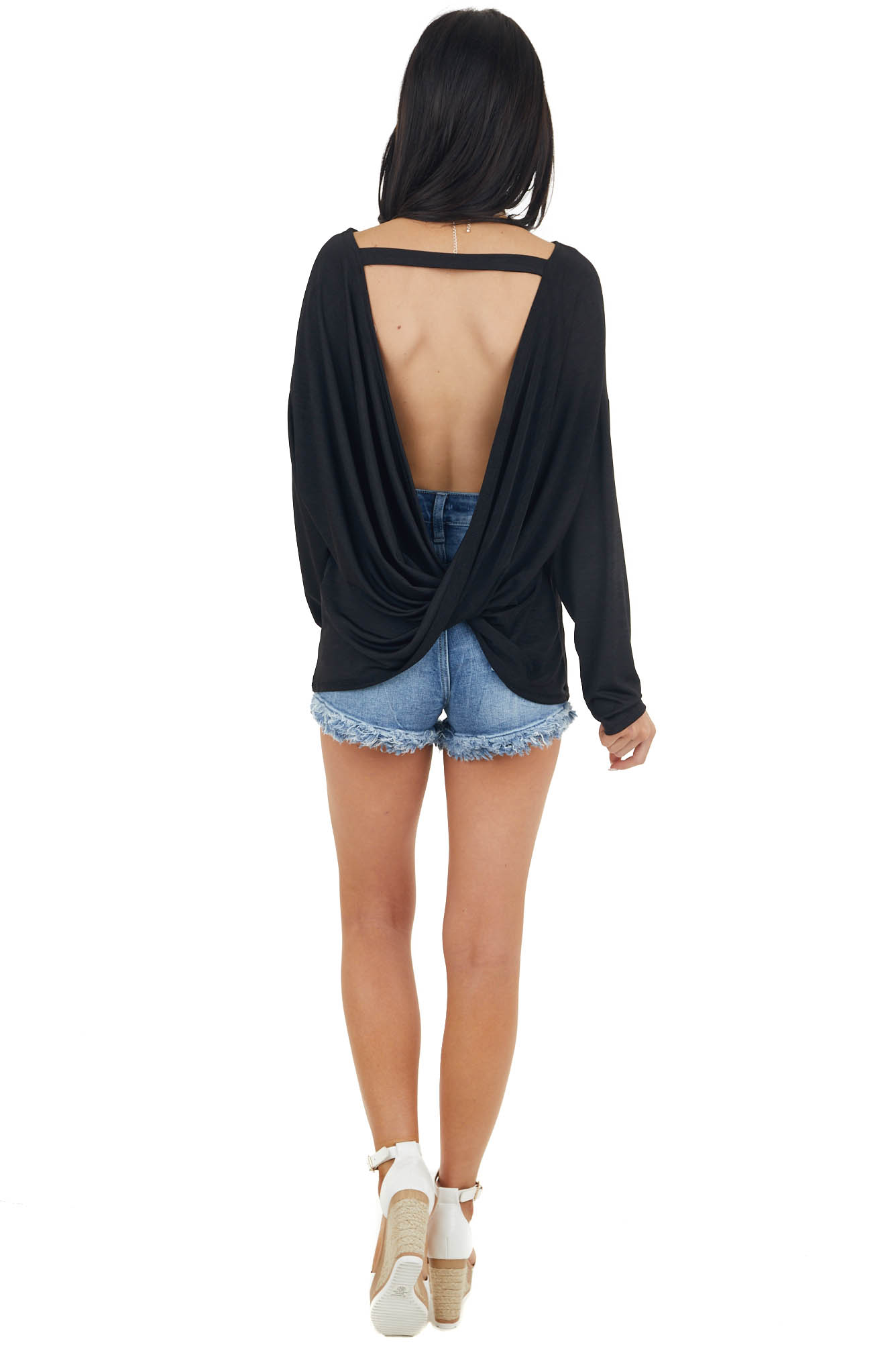 Black Open Back Knit Top with Leopard Print Front Pocket