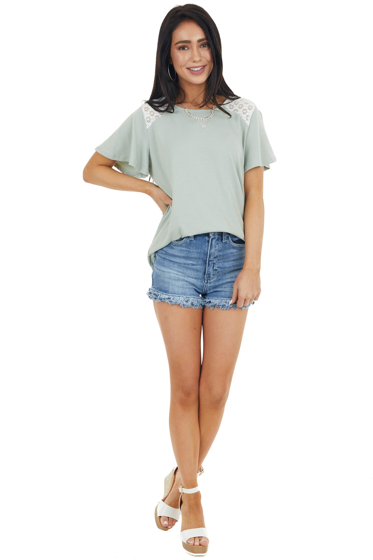 Sage Flutter Sleeve Knit Top with Contrast Lace Detail