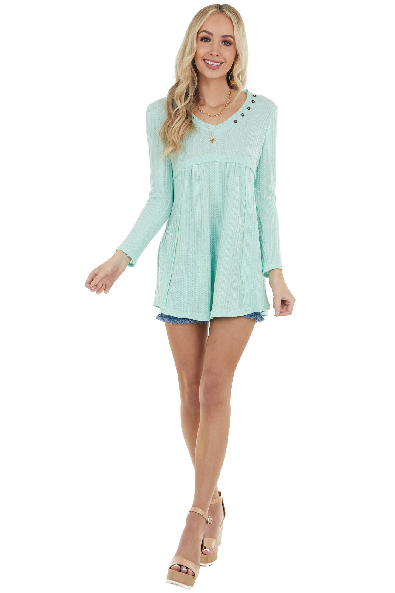 Mint Waffle Knit Babydoll Long Sleeve Tunic Top with Buttons
