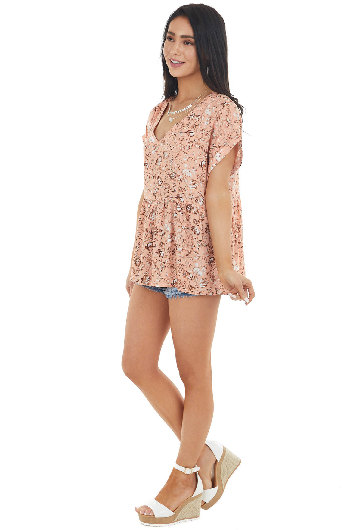 Salmon Floral Print Drop Waist Woven Top with V Neckline