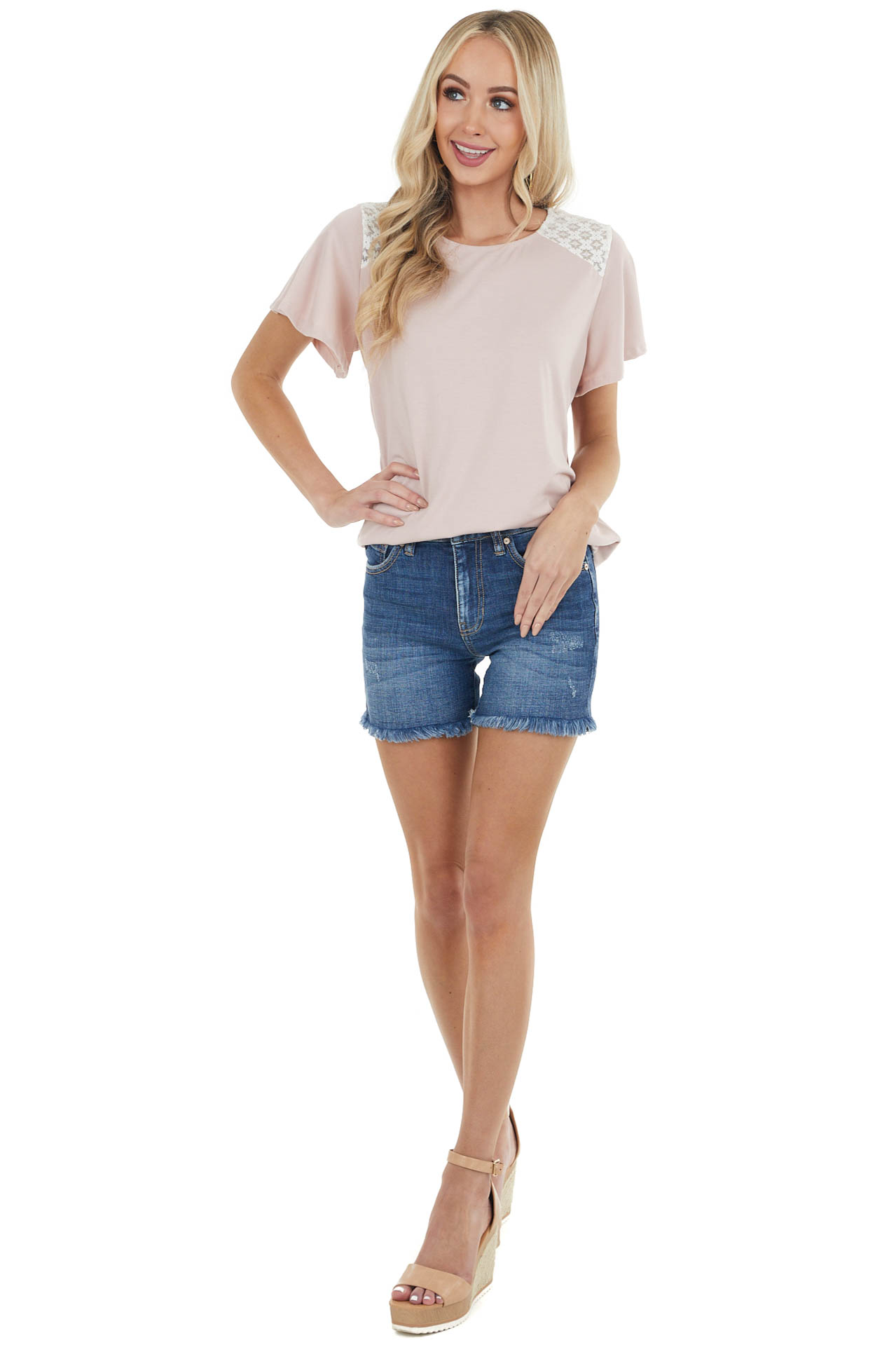 Blush Flutter Sleeve Knit Top with Contrast Lace Detail