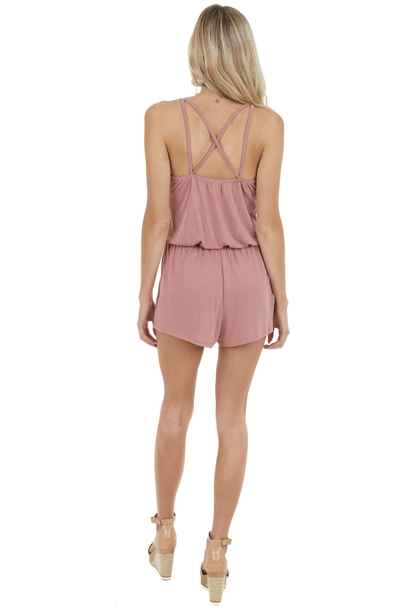 Rose Spaghetti Strap Romper with Back Criss Cross Detail