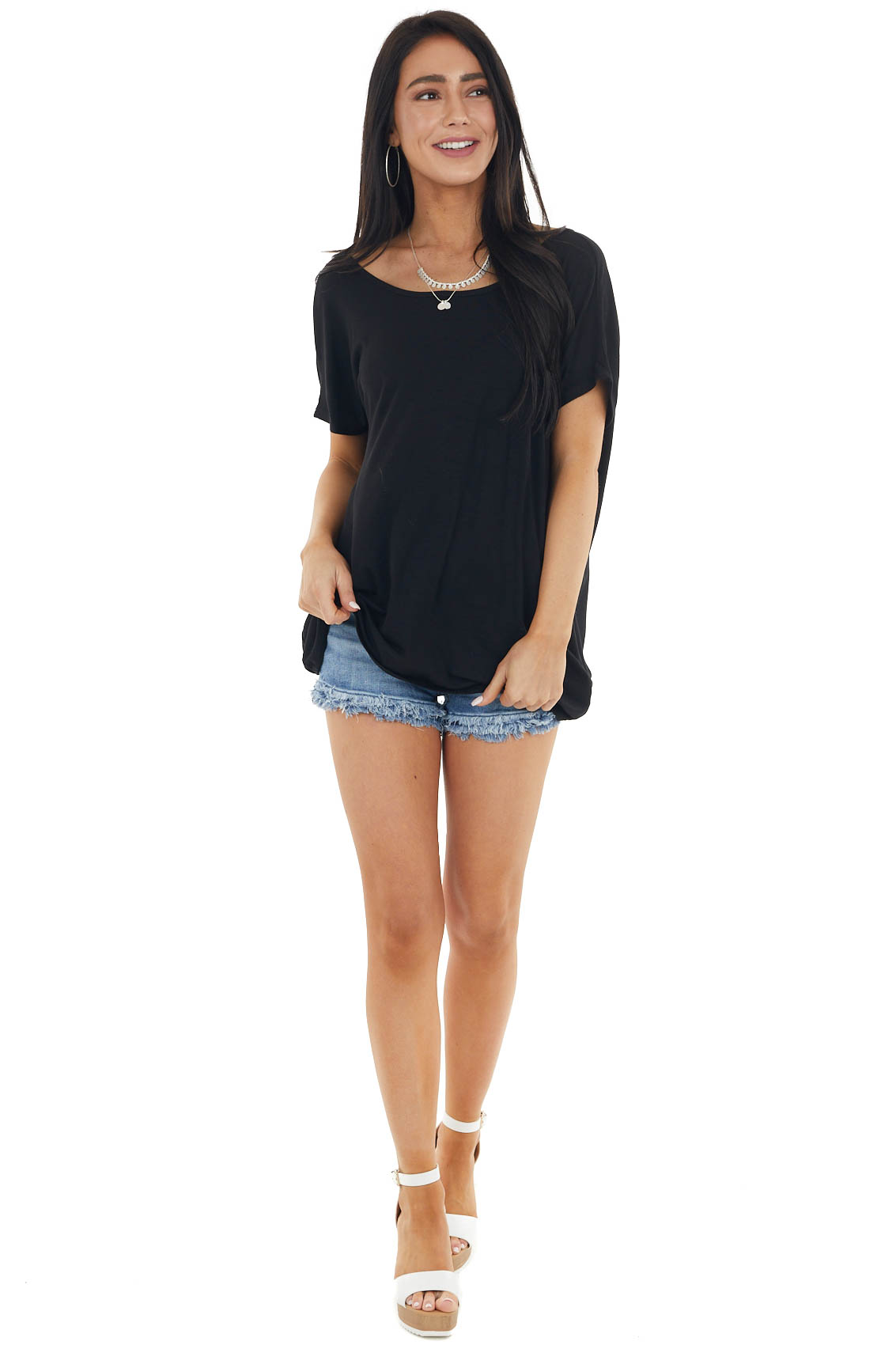 Black Short Sleeve Knit Top with Back Draped Twist Detail