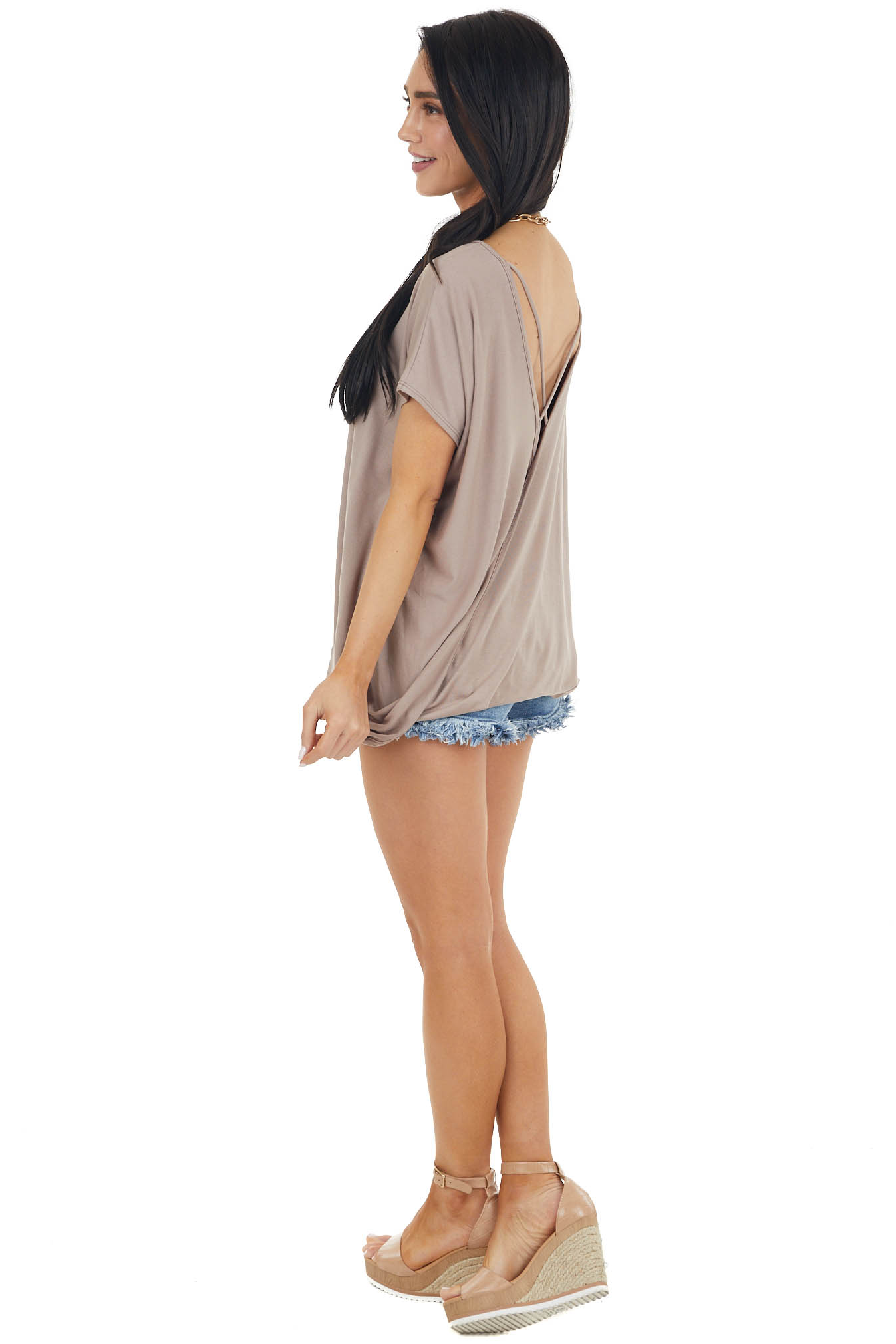 Mocha Short Sleeve Knit Top with Back Draped Twist Detail