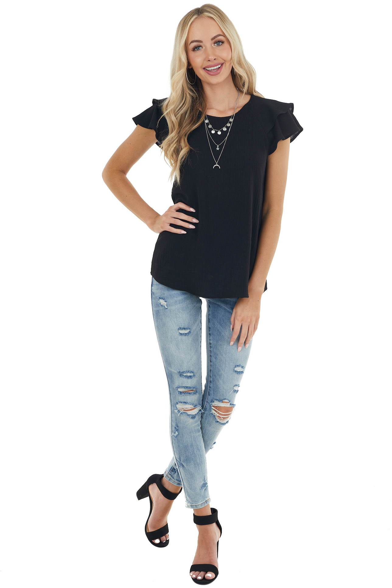 Black Textured Woven Top with Short Layered Flutter Sleeves