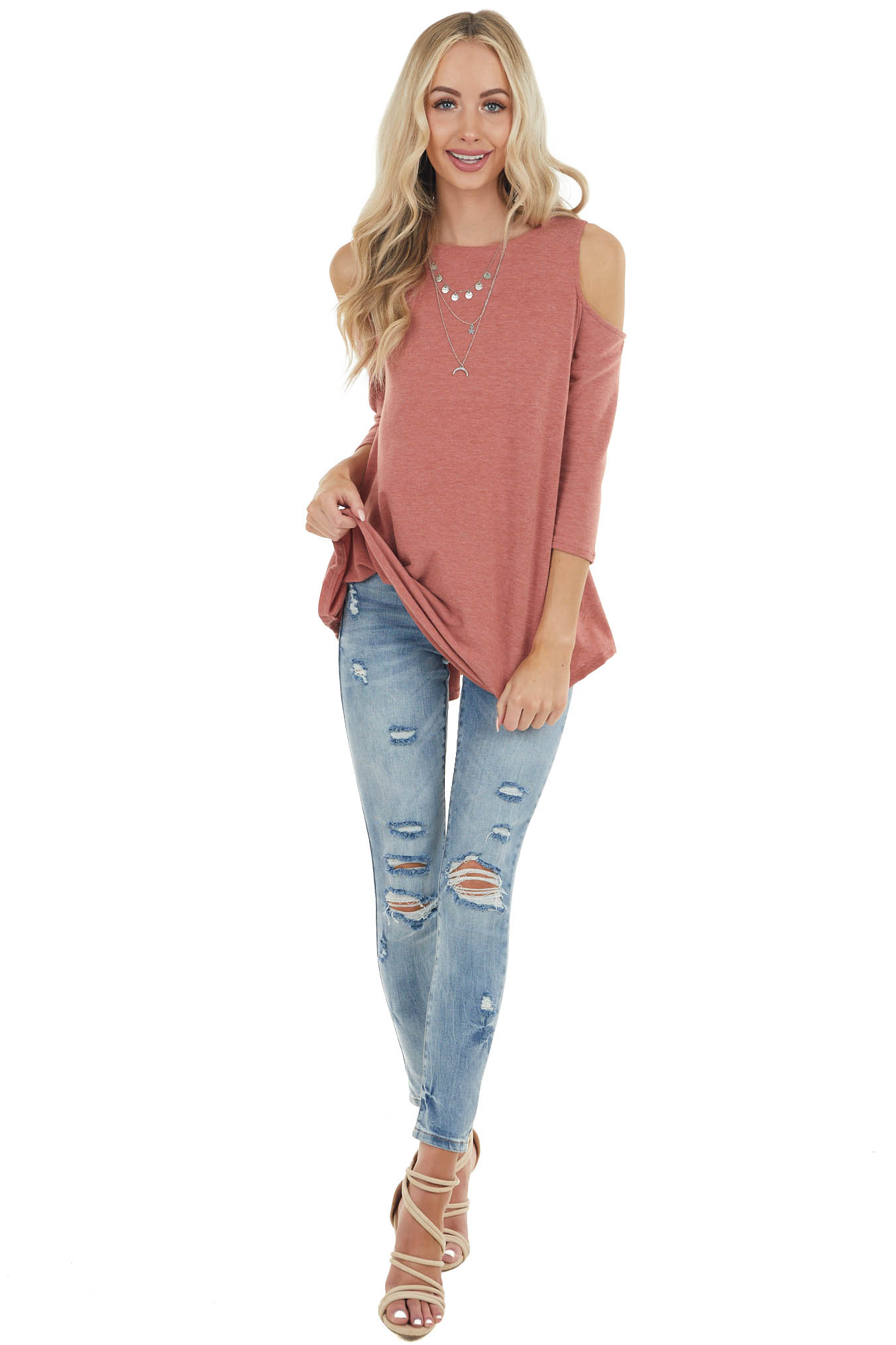 Terracotta Cold Shoulder Top with Back Criss Cross Detail