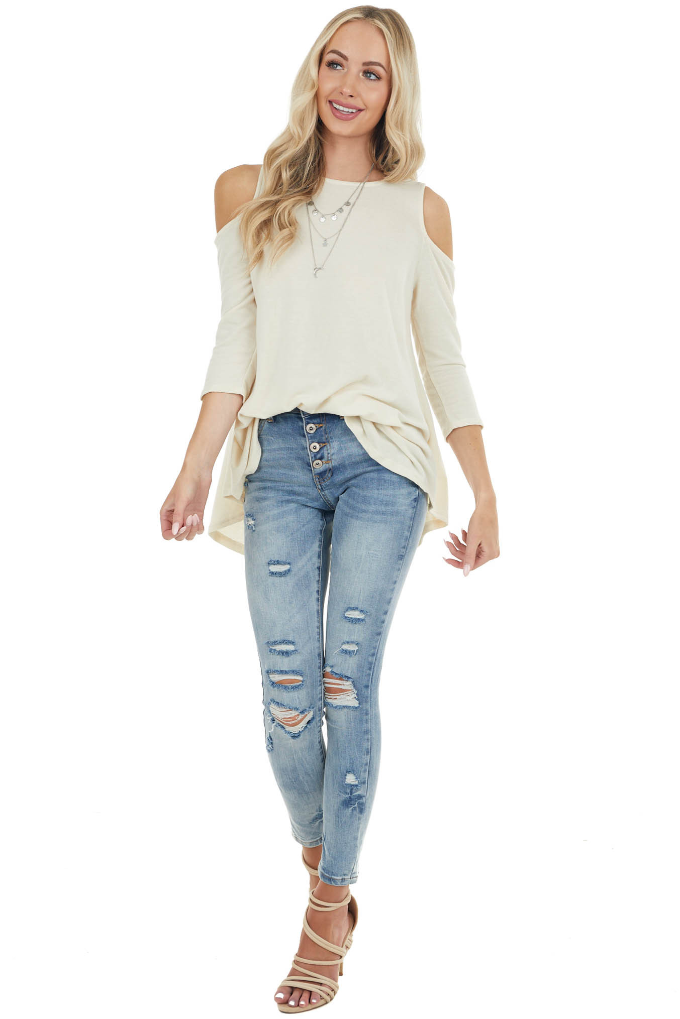 Dark Cream Cold Shoulder Top with Back Criss Cross Detail