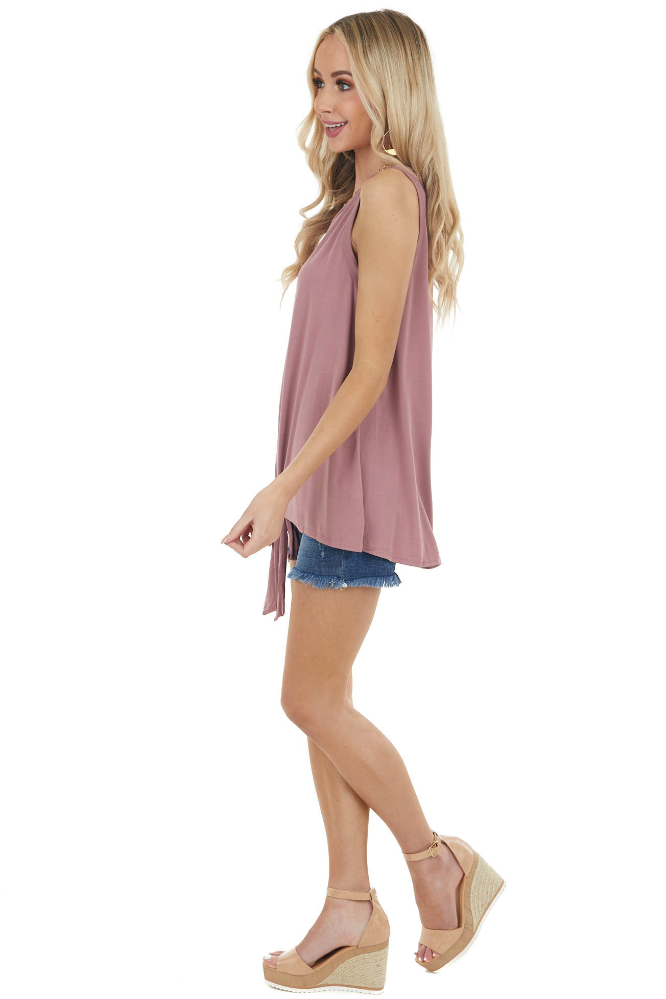 Dusty Rose Sleeveless Knit Top with Front Tie Detail