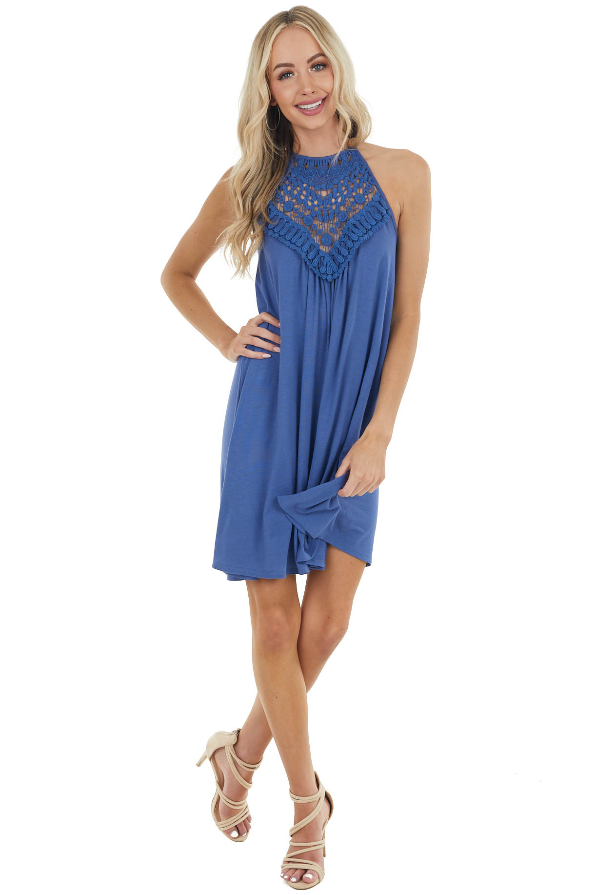 Ocean Blue Short Dress with Lace Front and Keyhole Back