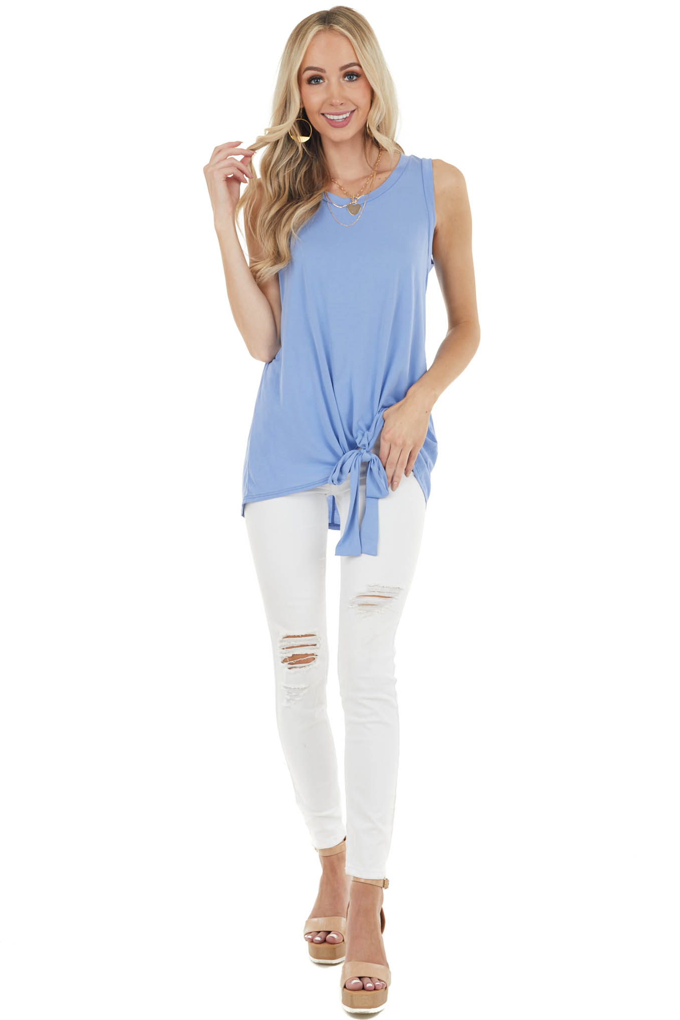Dusty Blue Sleeveless Knit Top with Front Tie Detail