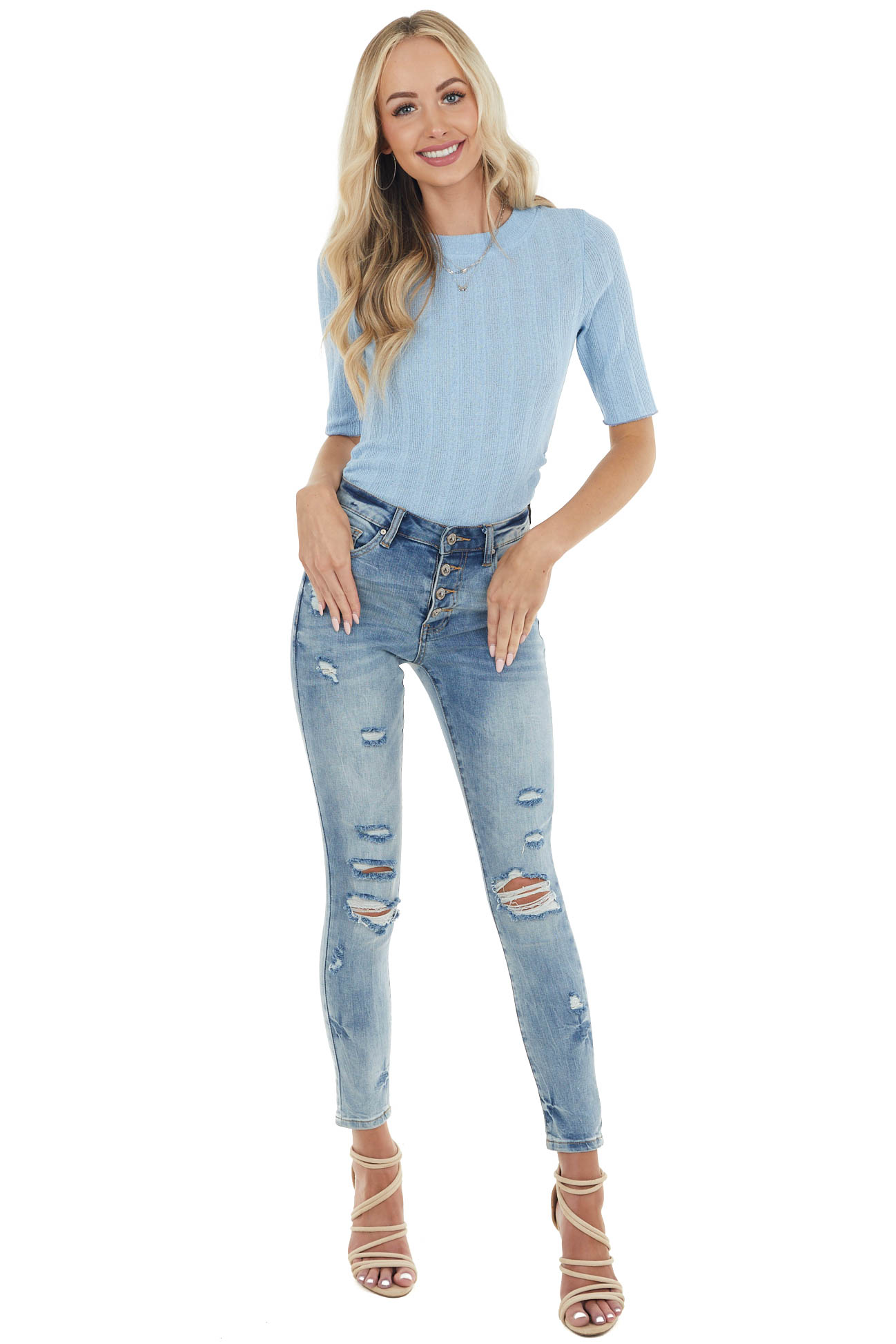 Powder Blue Half Sleeve Ribbed Knit Top with Side Ruching