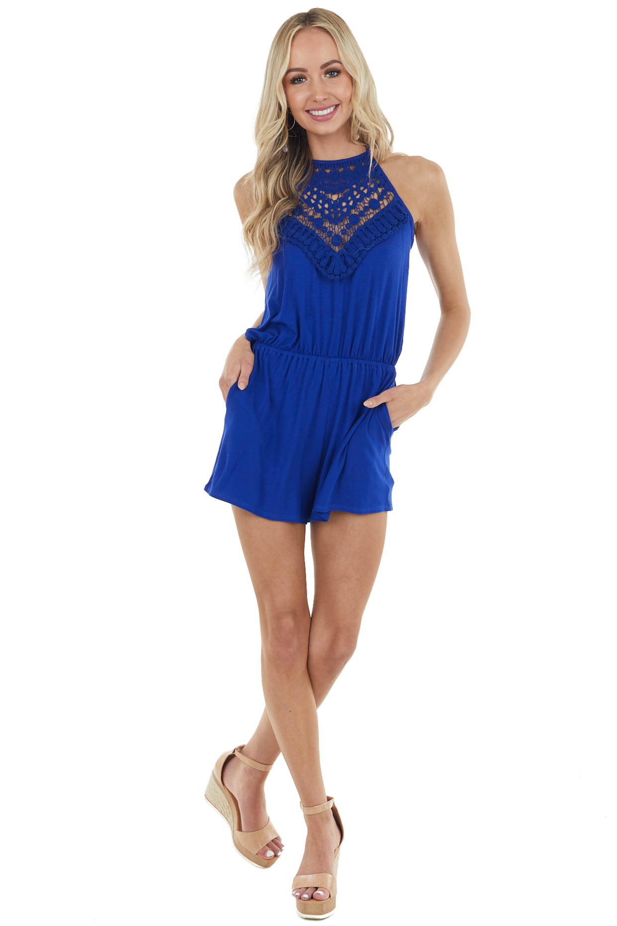 Royal Blue Spaghetti Strap Romper with Crocheted Lace Detail