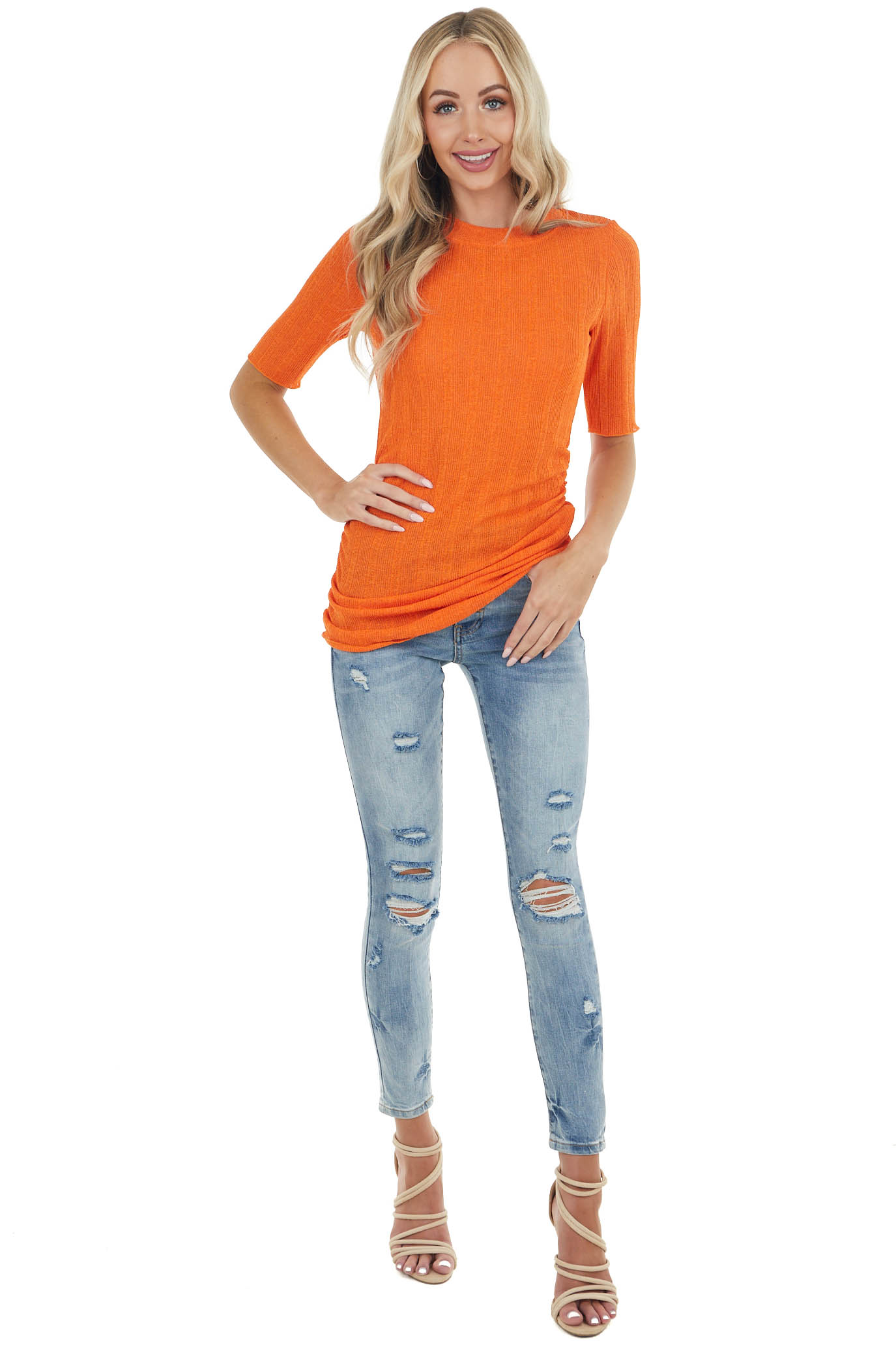 Tiger Orange Half Sleeve Ribbed Knit Top with Side Ruching