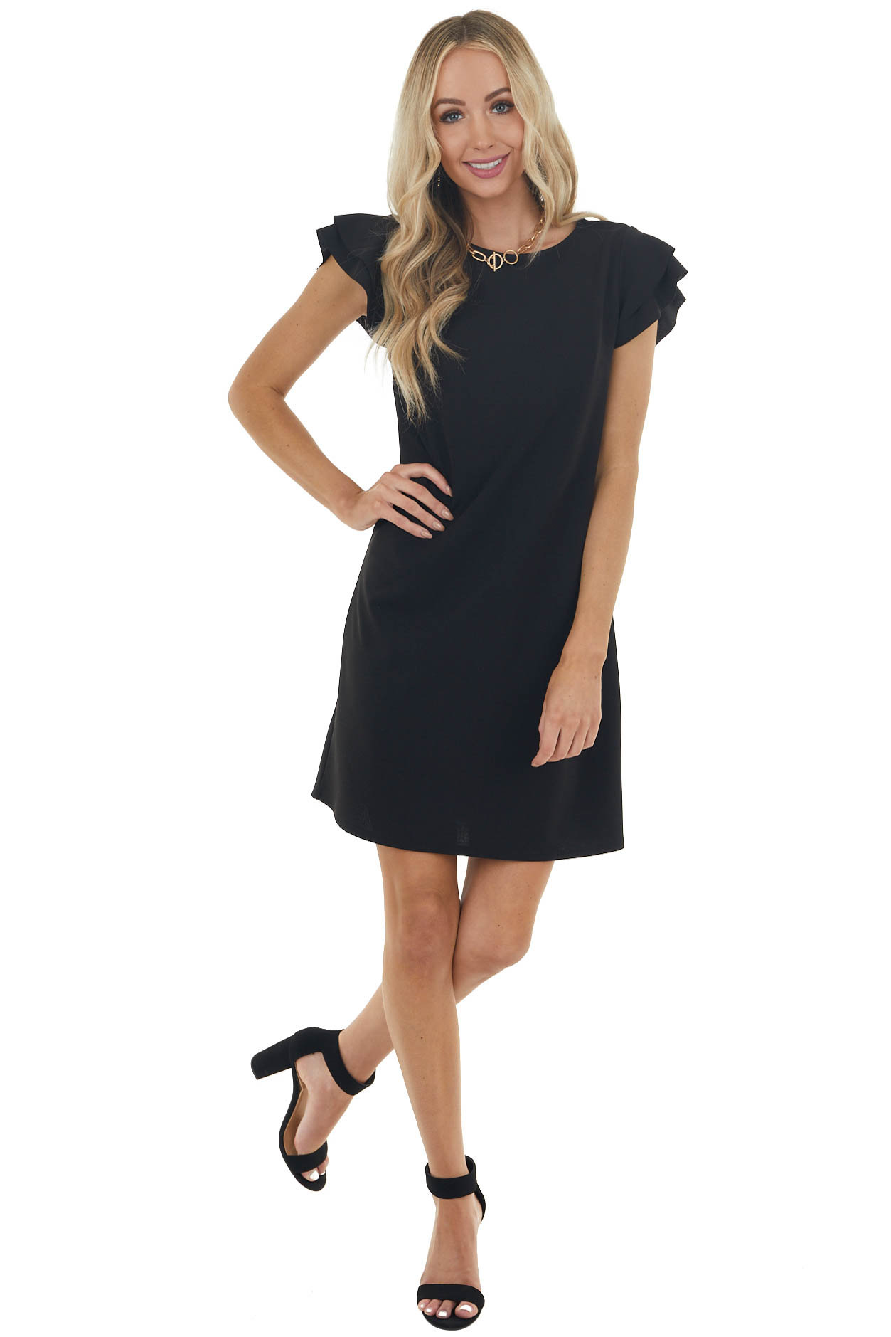 Black Knit Short Dress with Layered Ruffle Cap Sleeves