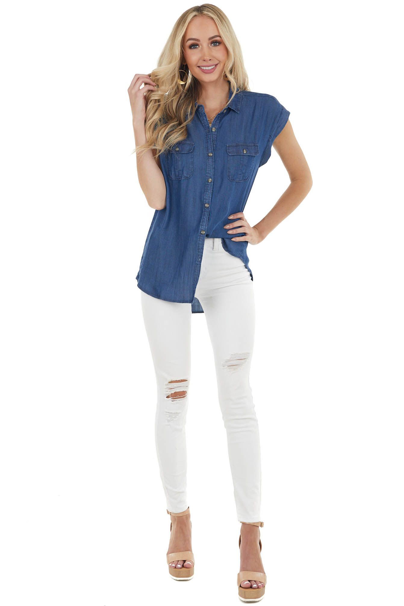 Dark Wash Short Sleeve Buttoned Down Chambray Top