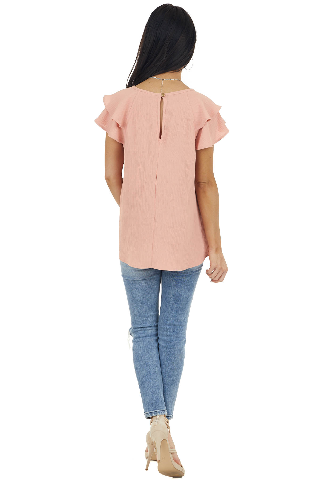 Melon Textured Woven Top with Short Layered Flutter Sleeves