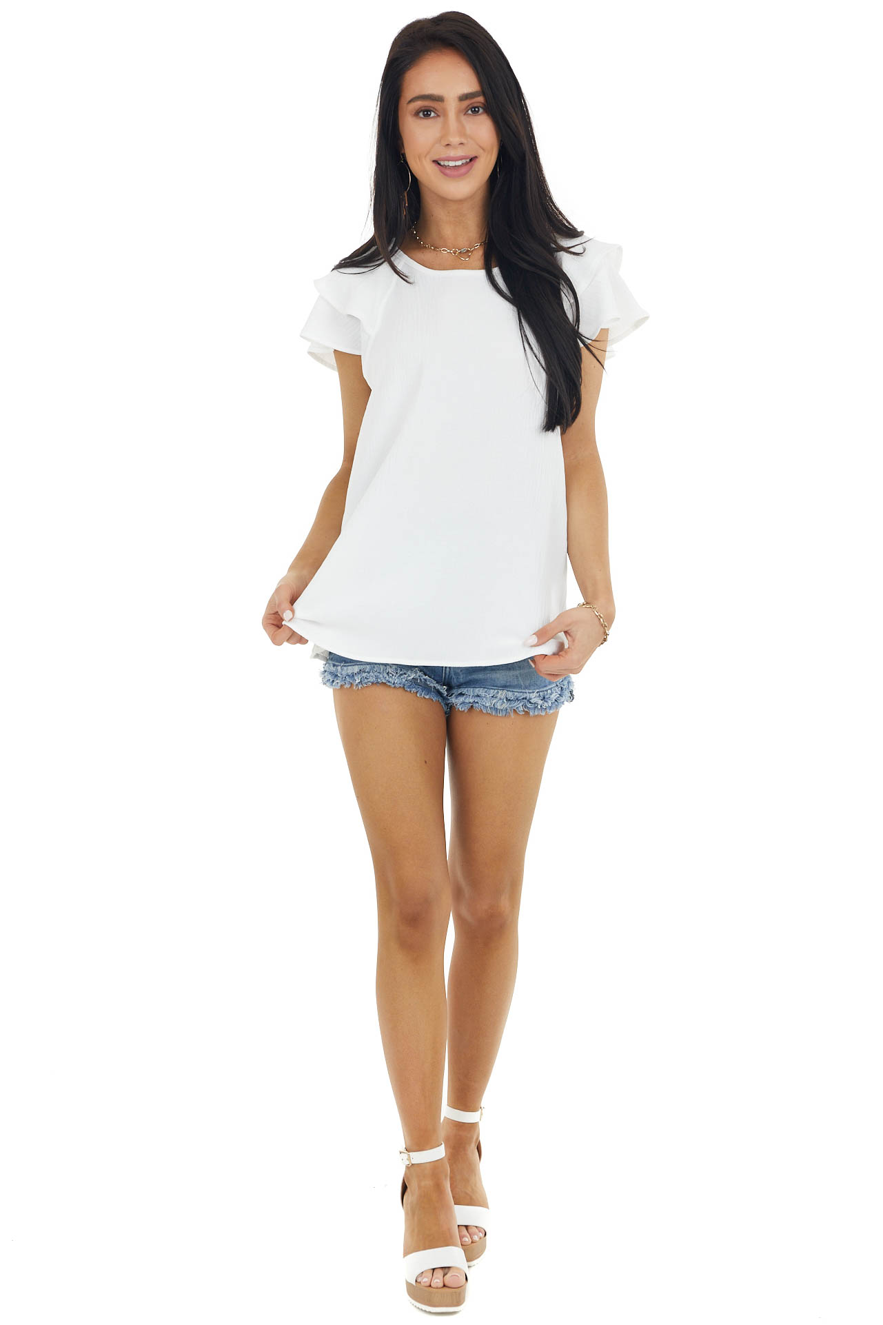 Ivory Textured Woven Top with Short Layered Flutter Sleeves