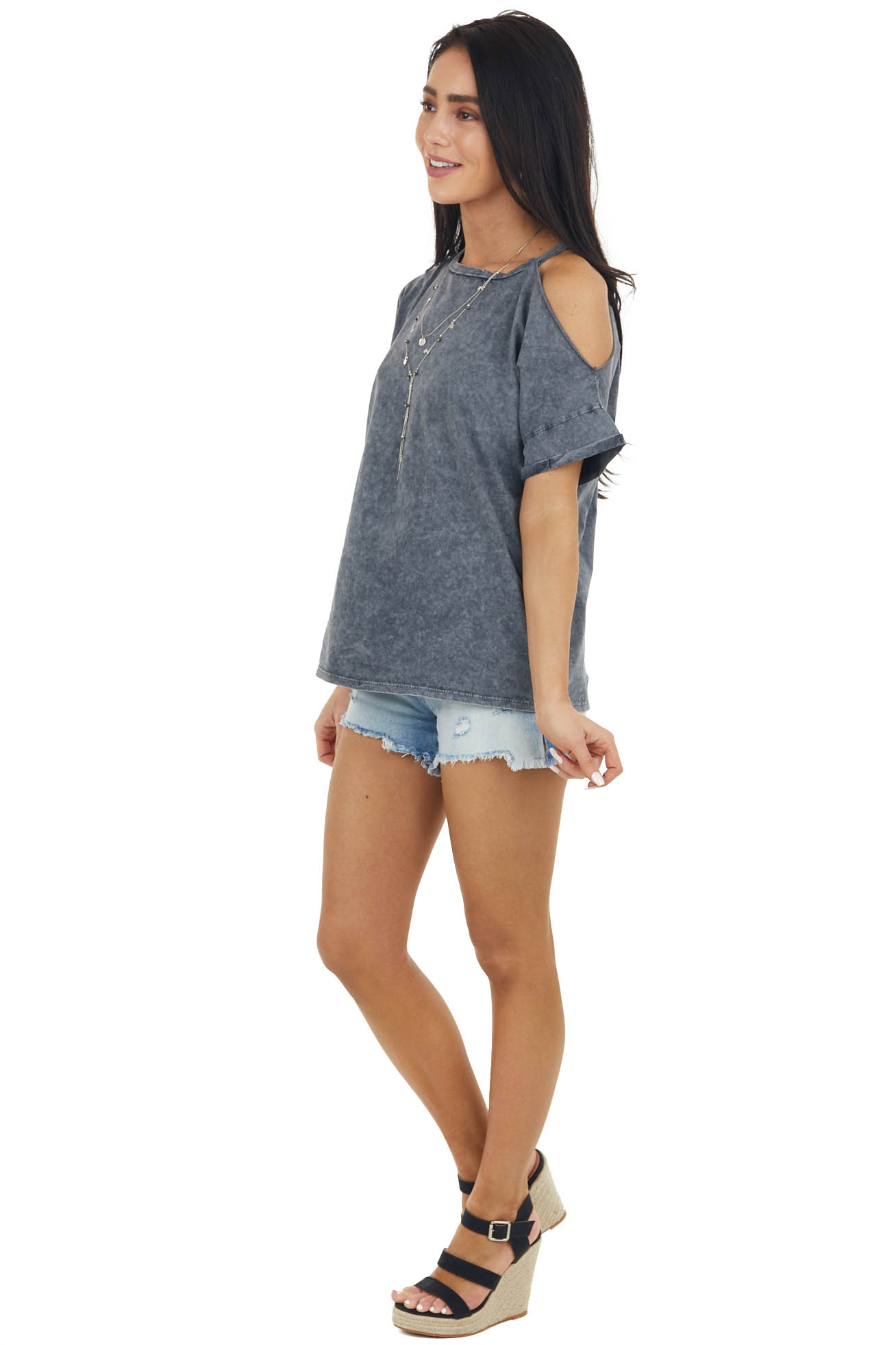 Graphite Mineral Washed Short Sleeve Cold Shoulder Knit Tee