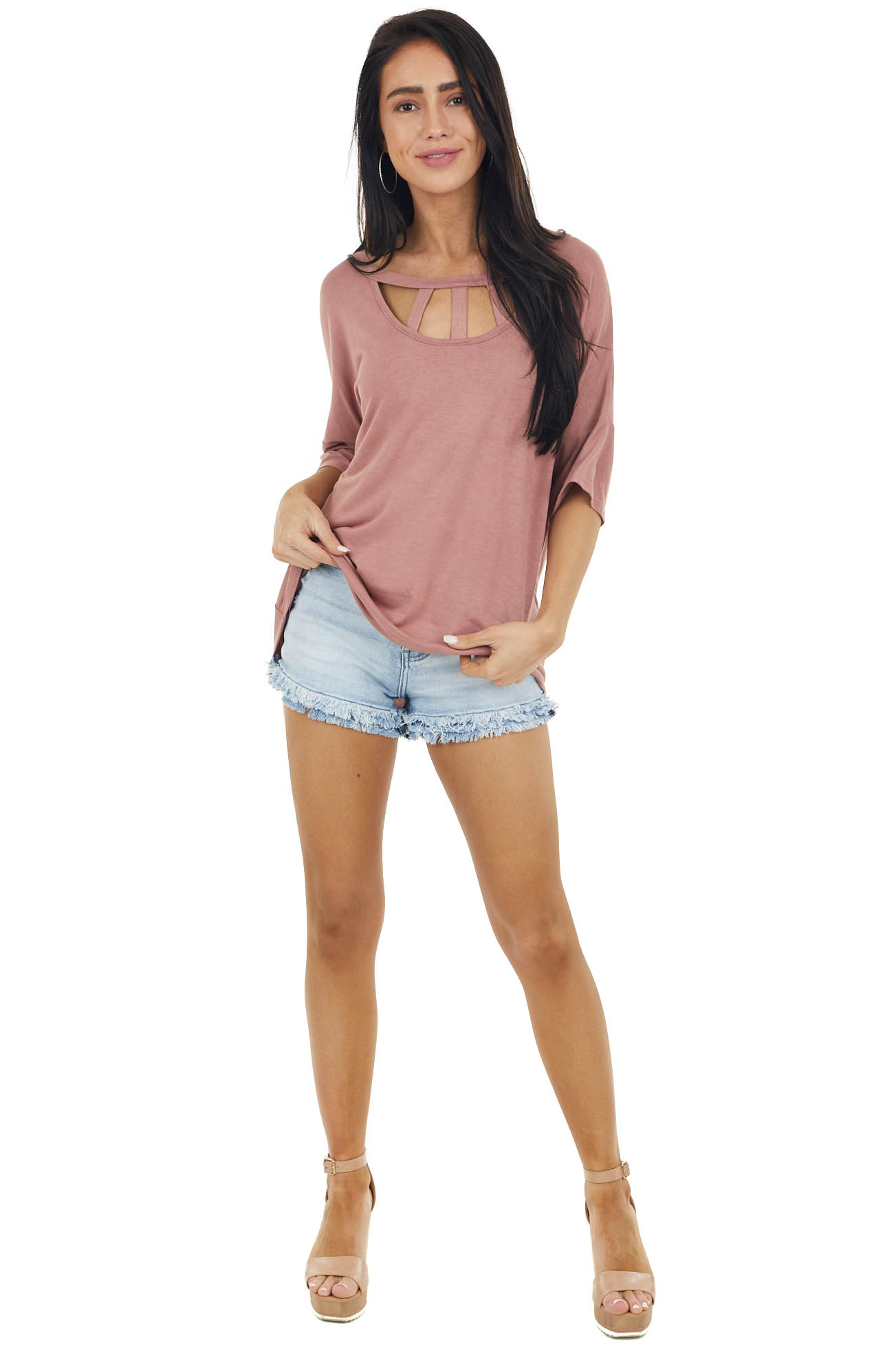 Light Marsala Half Sleeve Knit Top with Chest Cut Outs