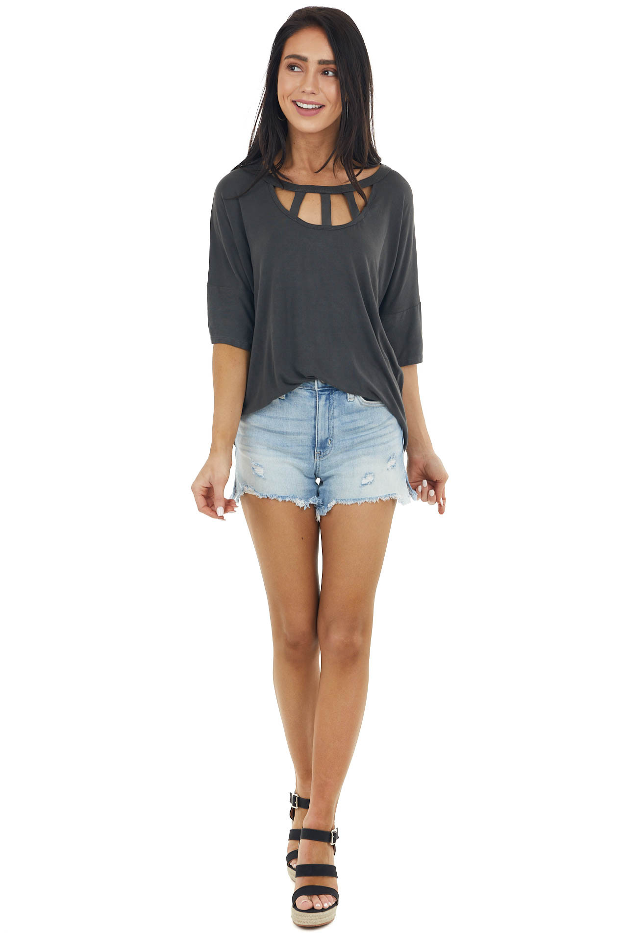Charcoal Half Sleeve Knit Top with Chest Cut Outs